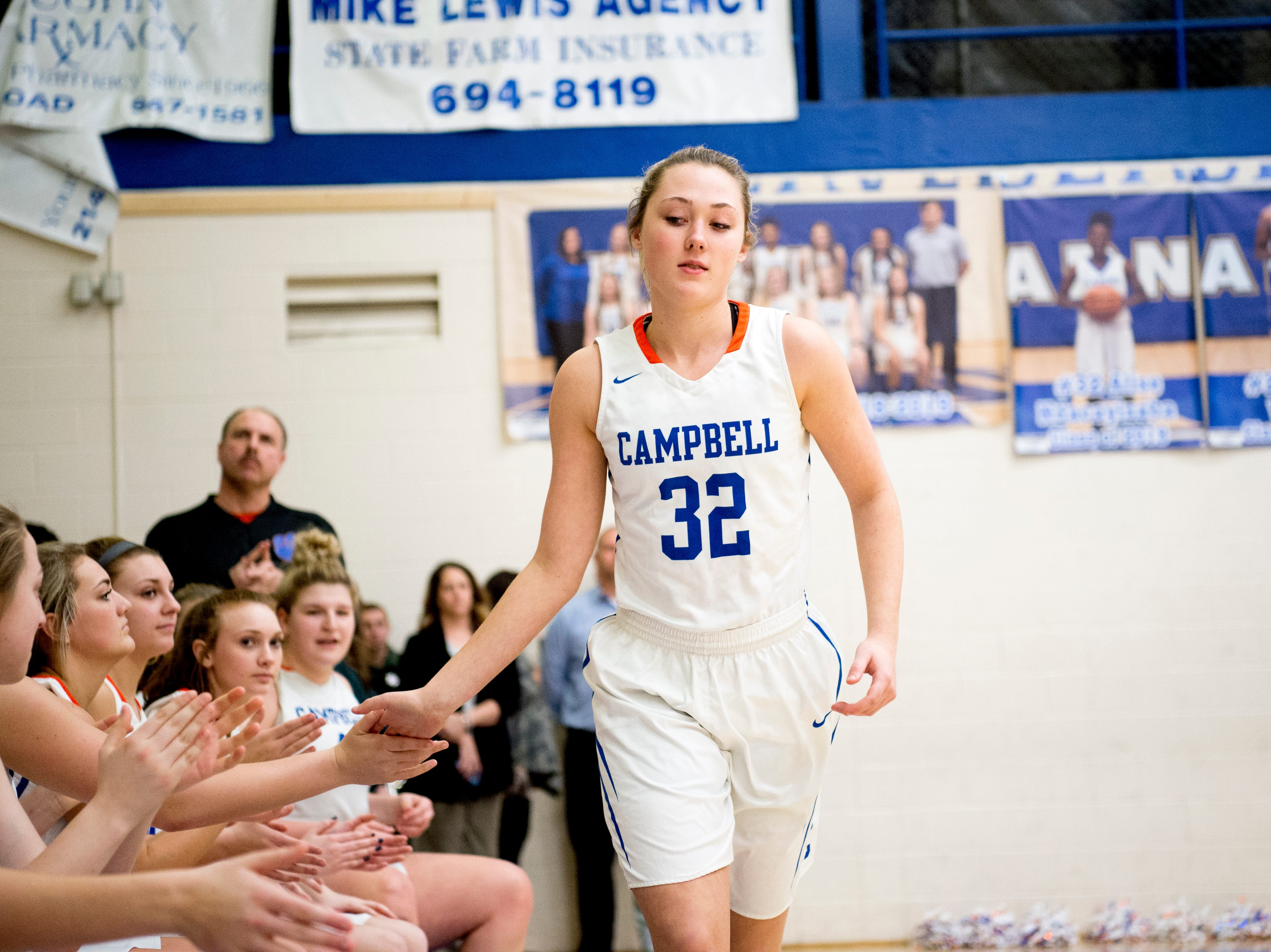 Campbell County's Skylar Boshears (32) is introduced during a district semifinal game between Anderson County and Campbell County at Karns High School in Knoxville, Tennessee on Saturday, February 16, 2019.