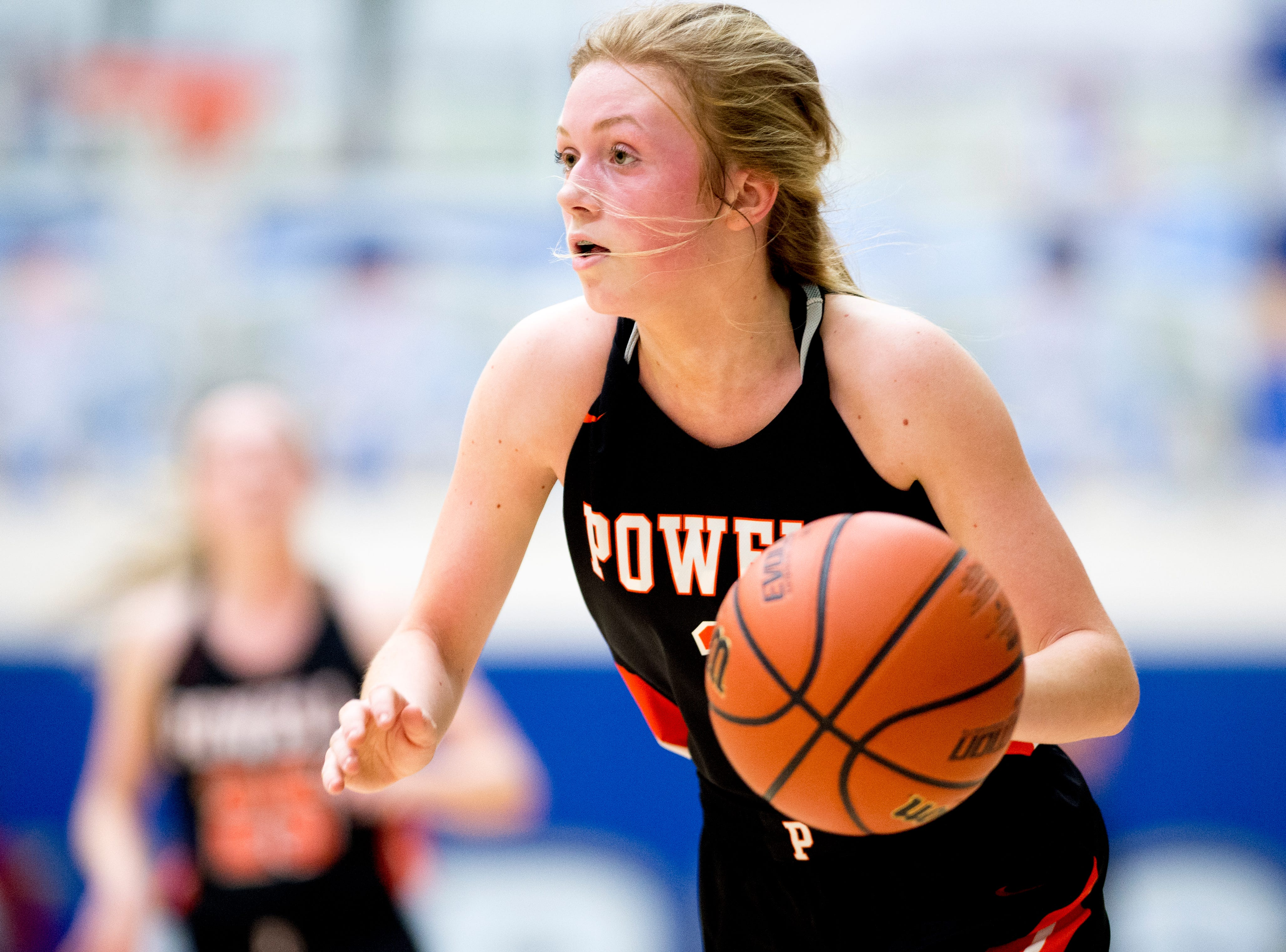 Powell's Reagan Trumm (3) dribbles down the court during a game between semifinal game between Oak Ridge and Powell at Karns High School in Knoxville, Tennessee on Saturday, February 16, 2019.