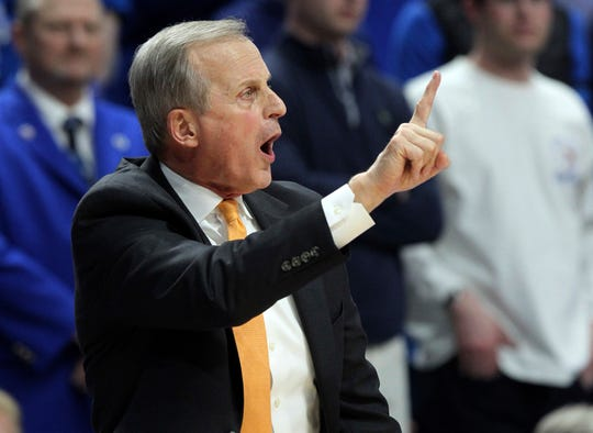 Tennessee coach Rick Barnes calls a play during the second half of the team's NCAA college basketball game against Kentucky in Lexington, Ky., Saturday, Feb. 16, 2019. Kentucky won 86-69. (AP Photo/James Crisp)