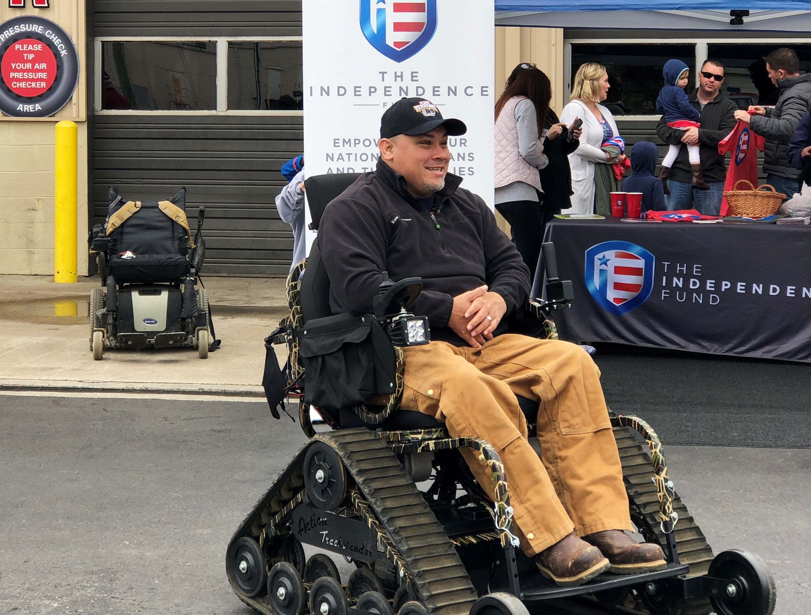 """There's a lot more freedom,"" said Dameon Berry during the official presentation of his all-terrain wheelchair at Halls Service Center on Feb. 16, 2019."
