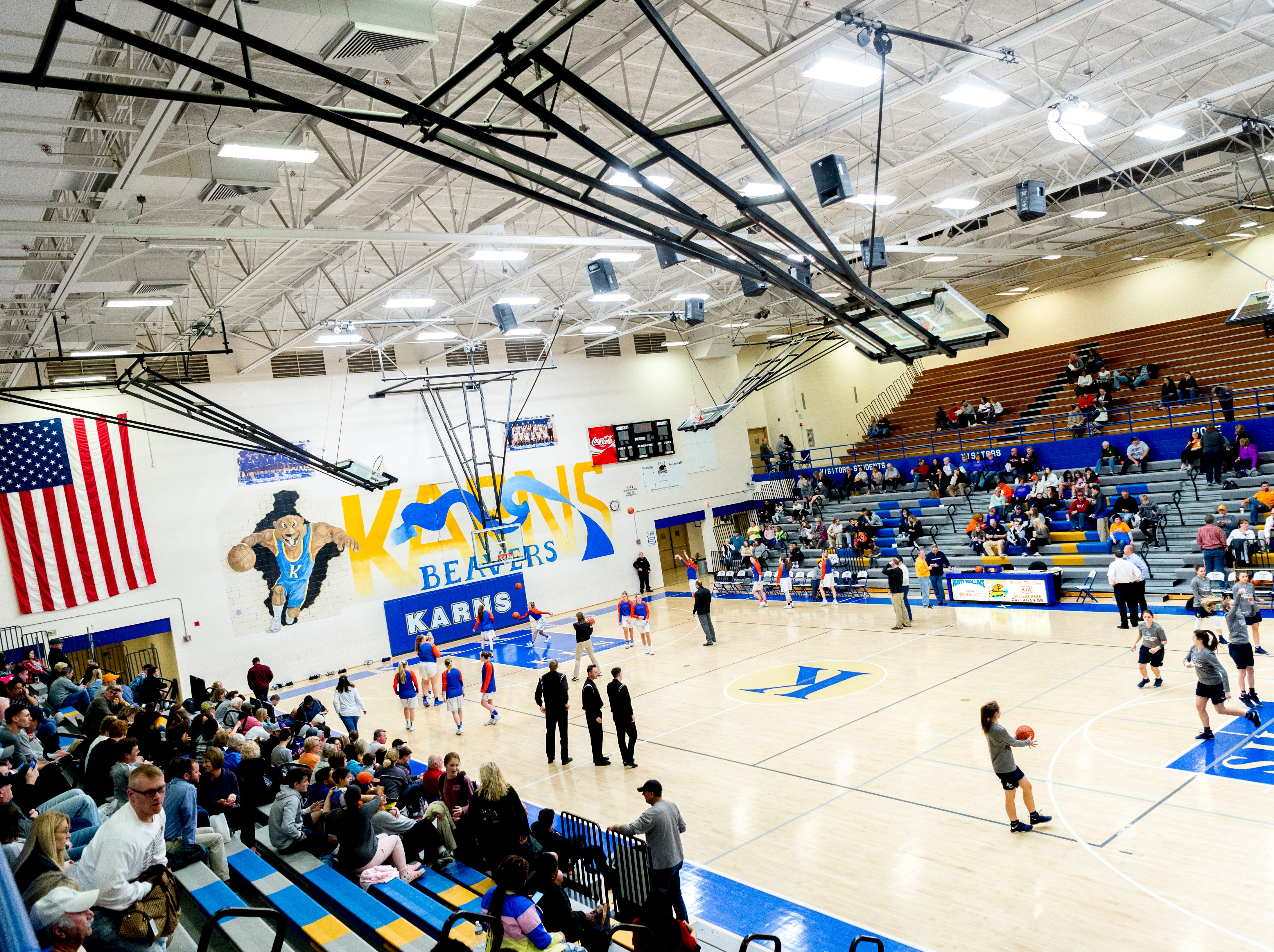 A view of the Karns High School gym during a semifinal game at Karns High School in Knoxville, Tennessee on Saturday, February 16, 2019.