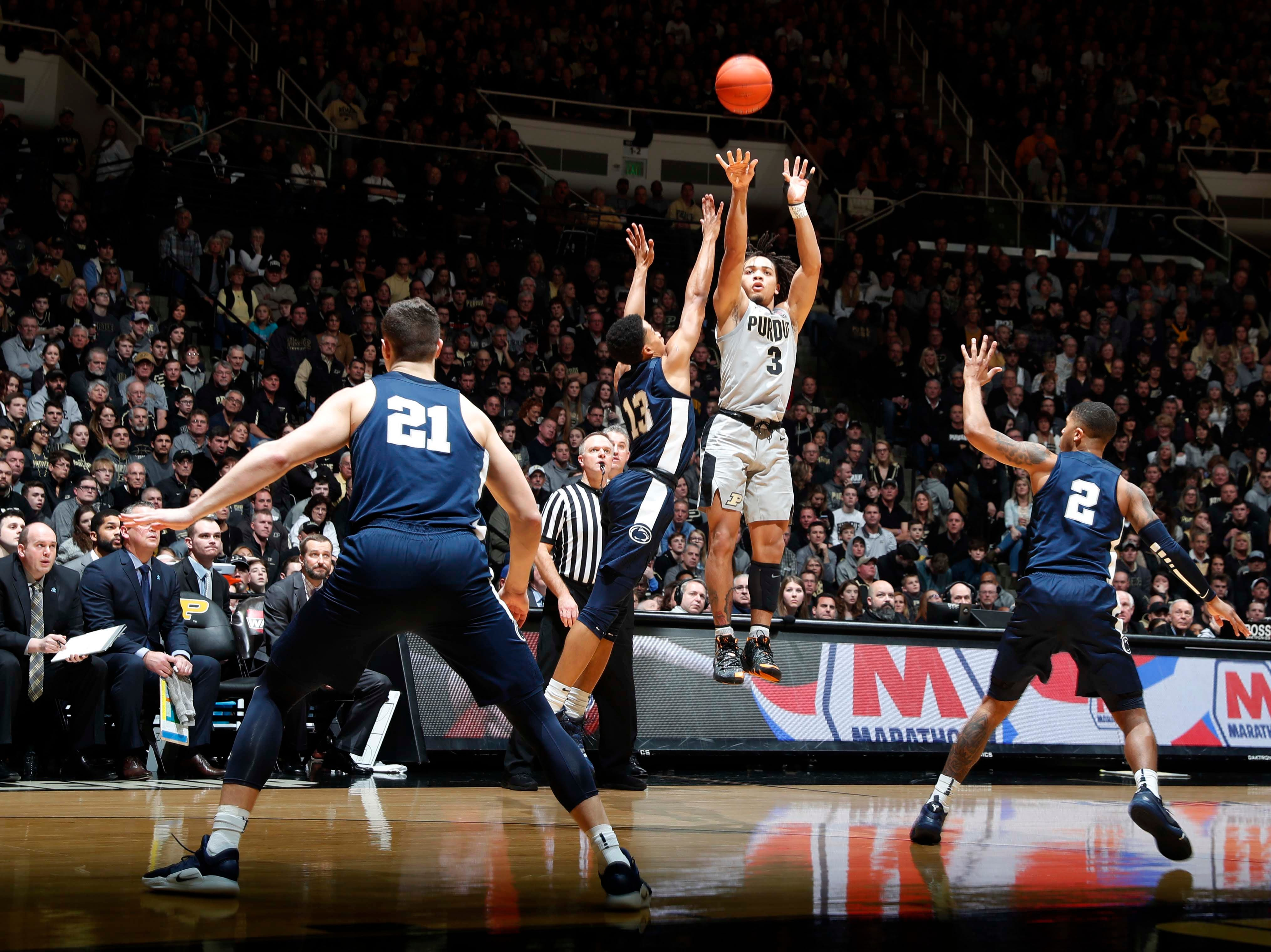 Feb 16, 2019; West Lafayette, IN, USA; Purdue Boilermakers guard Carsen Edwards takes a three point shot against Penn State Nittany Lions Rasir Bolton (13) during the second half at Mackey Arena. Mandatory Credit: Brian Spurlock-USA TODAY Sports