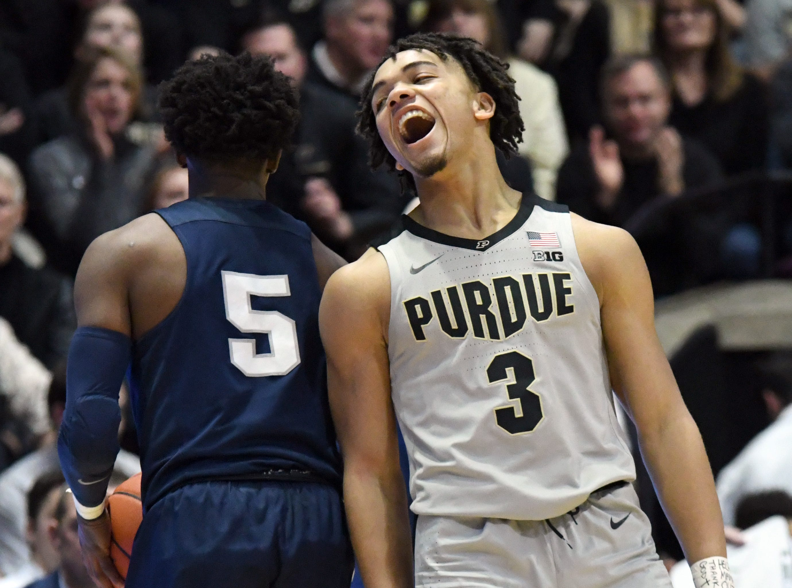 By Frank Oliver for the Journal and Courier --Purdue's Carsen Edwards laughs as Penn State calls a timeout in the Boilers' 76-64 win over Penn State at Purdue on Saturday February 16, 2019.