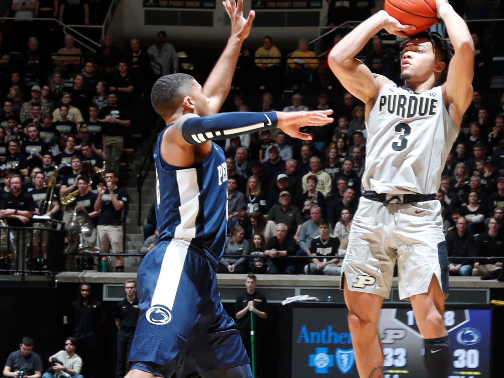 Feb 16, 2019; West Lafayette, IN, USA; Purdue Boilermakers guard Carsen Edwards shoots a three pointer against the Penn State Nittany Lions during the second half at Mackey Arena. Mandatory Credit: Brian Spurlock-USA TODAY Sports