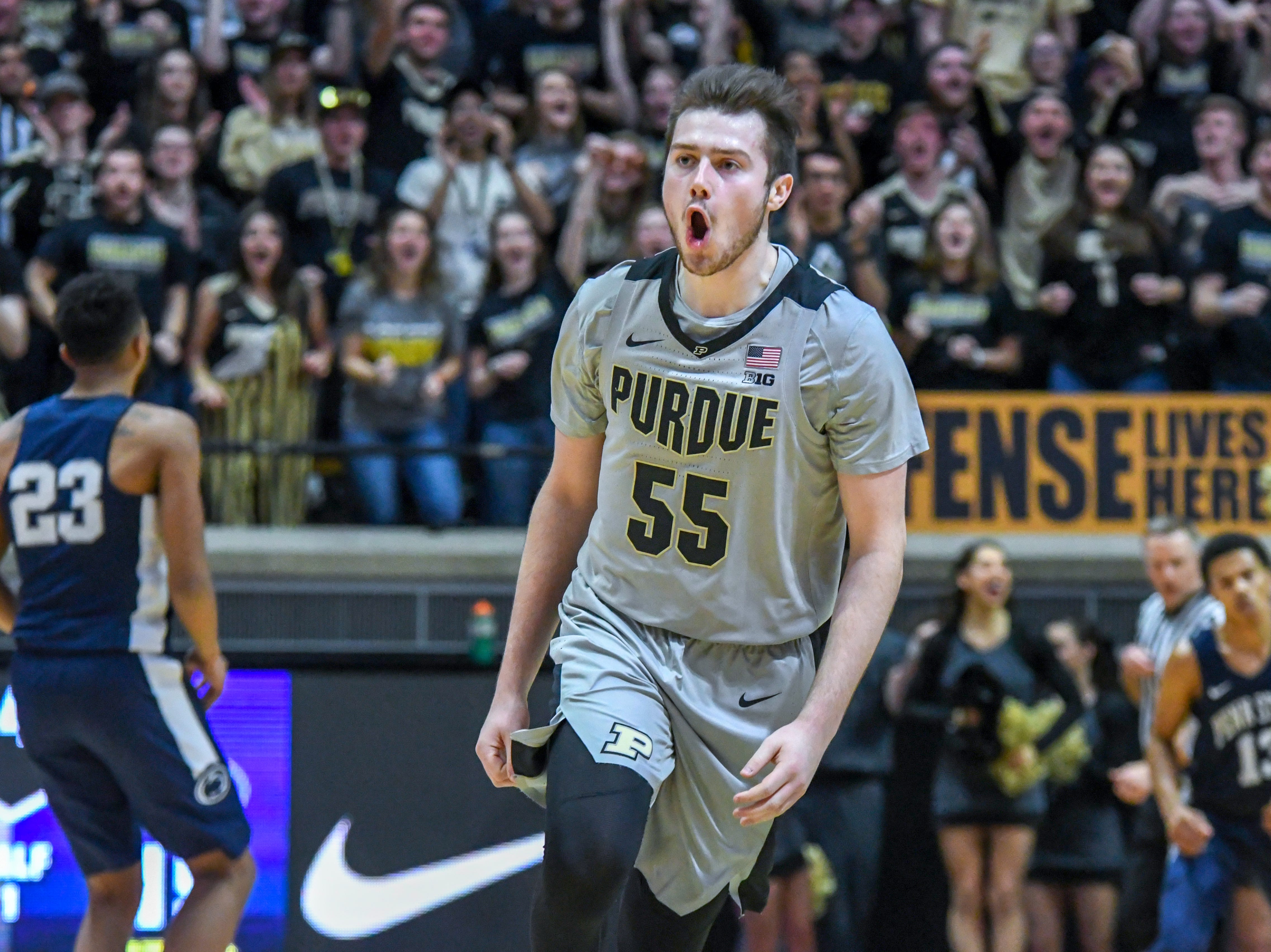 By Frank Oliver for the Journal and Courier -- Purdue's Sasha Stefanovic celebrates hitting a basket in the first half at Purdue on Saturday February 16, 2019.