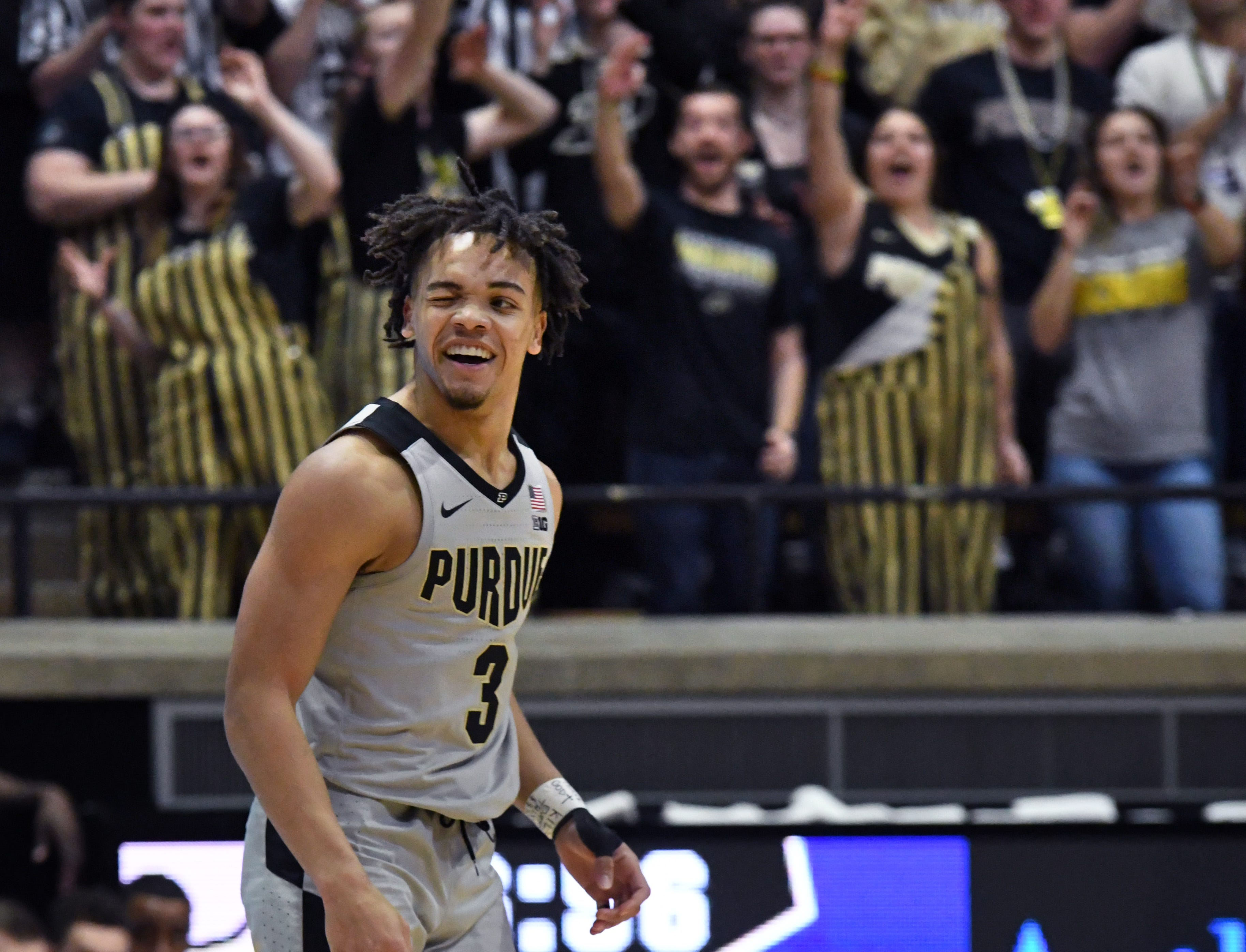 By Frank Oliver for the Journal and Courier --Purdue's Carsen Edwards winks at Penn State after hitting a three-point shot in the Boilers' 76-64 win over Penn State at Purdue on Saturday February 16, 2019.