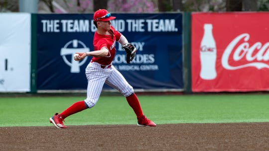 Shortstop Hayden Cantrelle as the Louisiana Ragin Cajuns take on Texas at M.L. Tigue Moore field at Russo Park.. Sunday, Feb. 17, 2019.