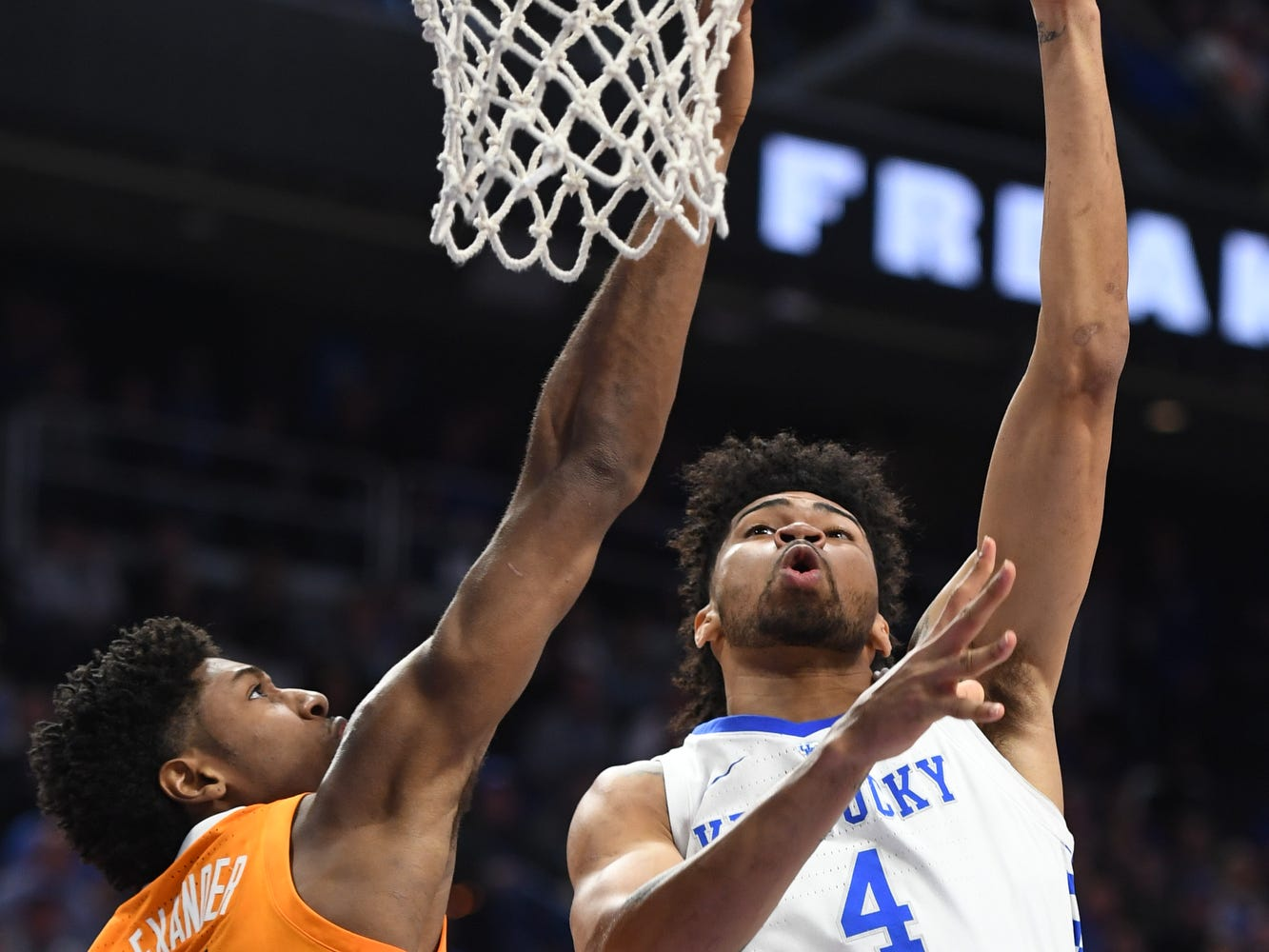 UK F Nick Richards puts up the ball during the University of Kentucky mens basketball game against Tennessee at Rupp Arena in Lexington, Kentucky on Saturday, February 16, 2019.