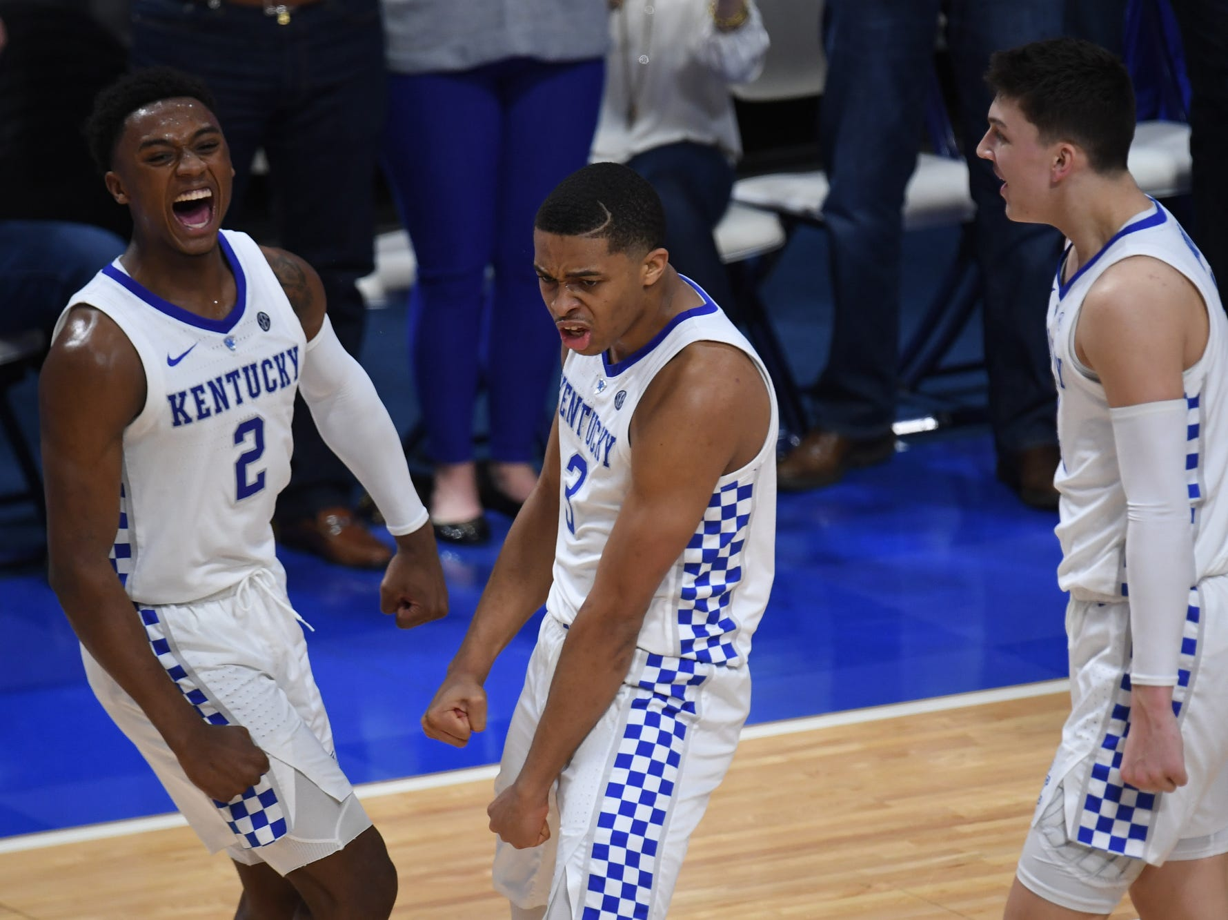 UK players celebrate during the University of Kentucky mens basketball game against Tennessee at Rupp Arena in Lexington, Kentucky on Saturday, February 16, 2019.