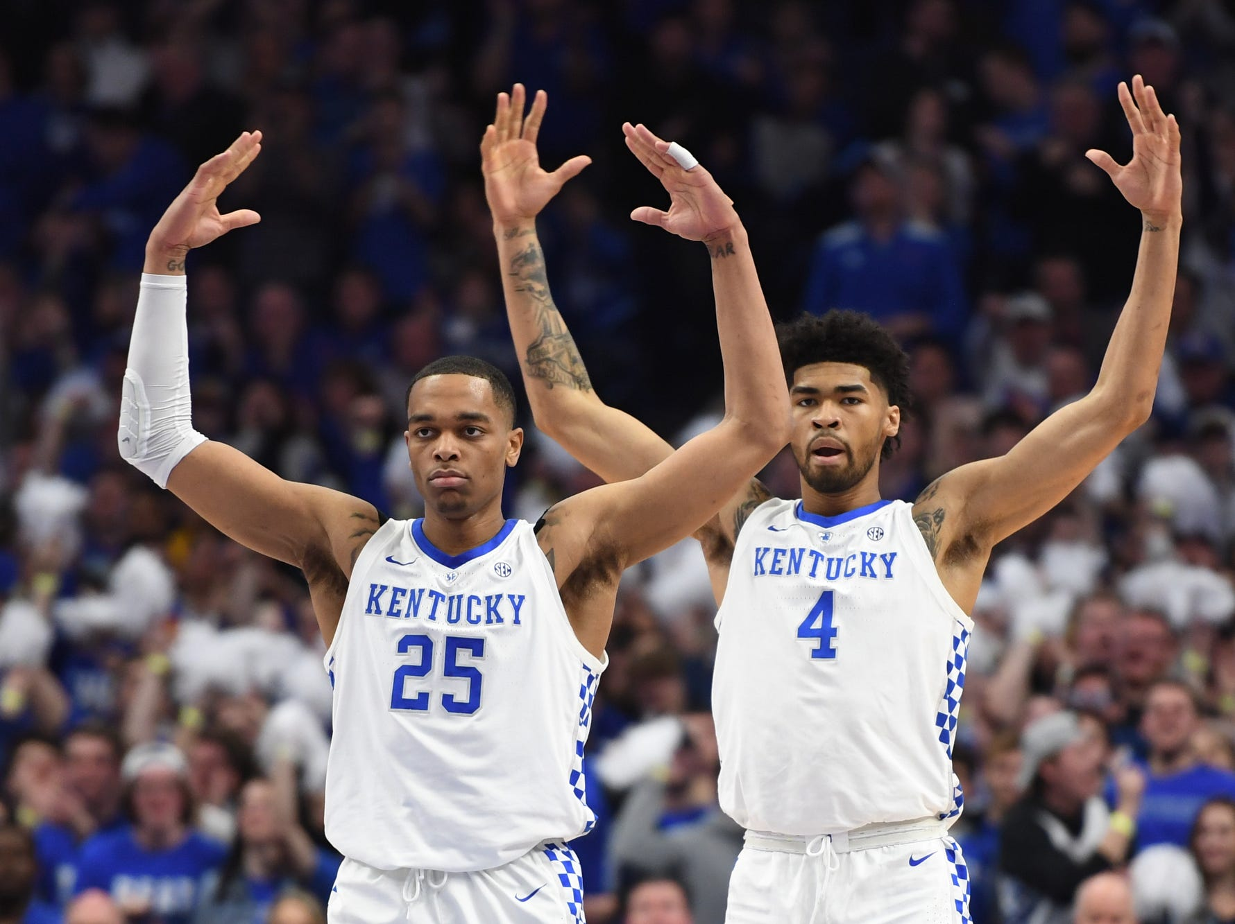 UK F PJ Washington and F Nick Richards fire up the crowd during the University of Kentucky mens basketball game against Tennessee at Rupp Arena in Lexington, Kentucky on Saturday, February 16, 2019.