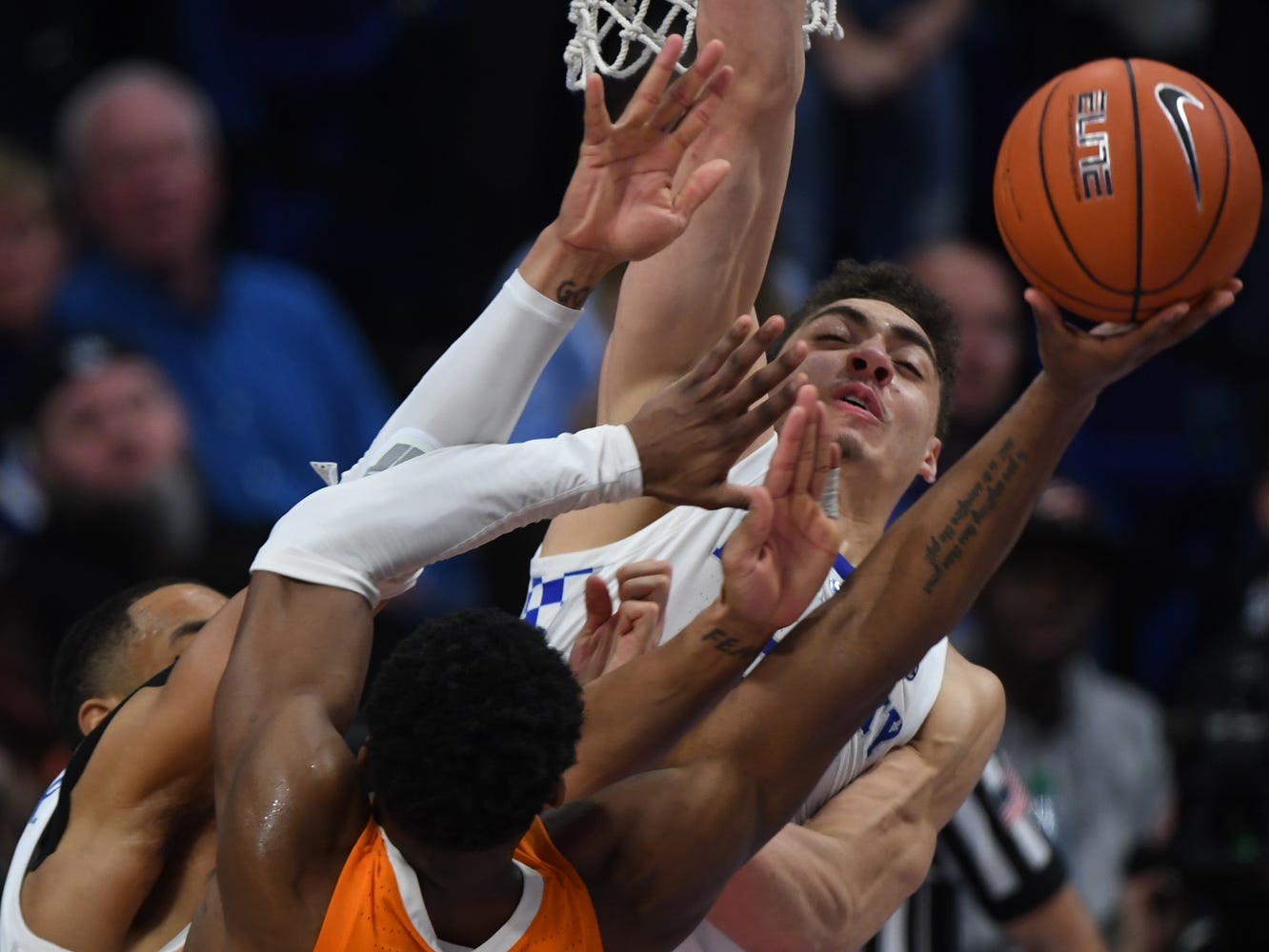 UK F Reid Travis gets a block during the University of Kentucky mens basketball game against Tennessee at Rupp Arena in Lexington, Kentucky on Saturday, February 16, 2019.