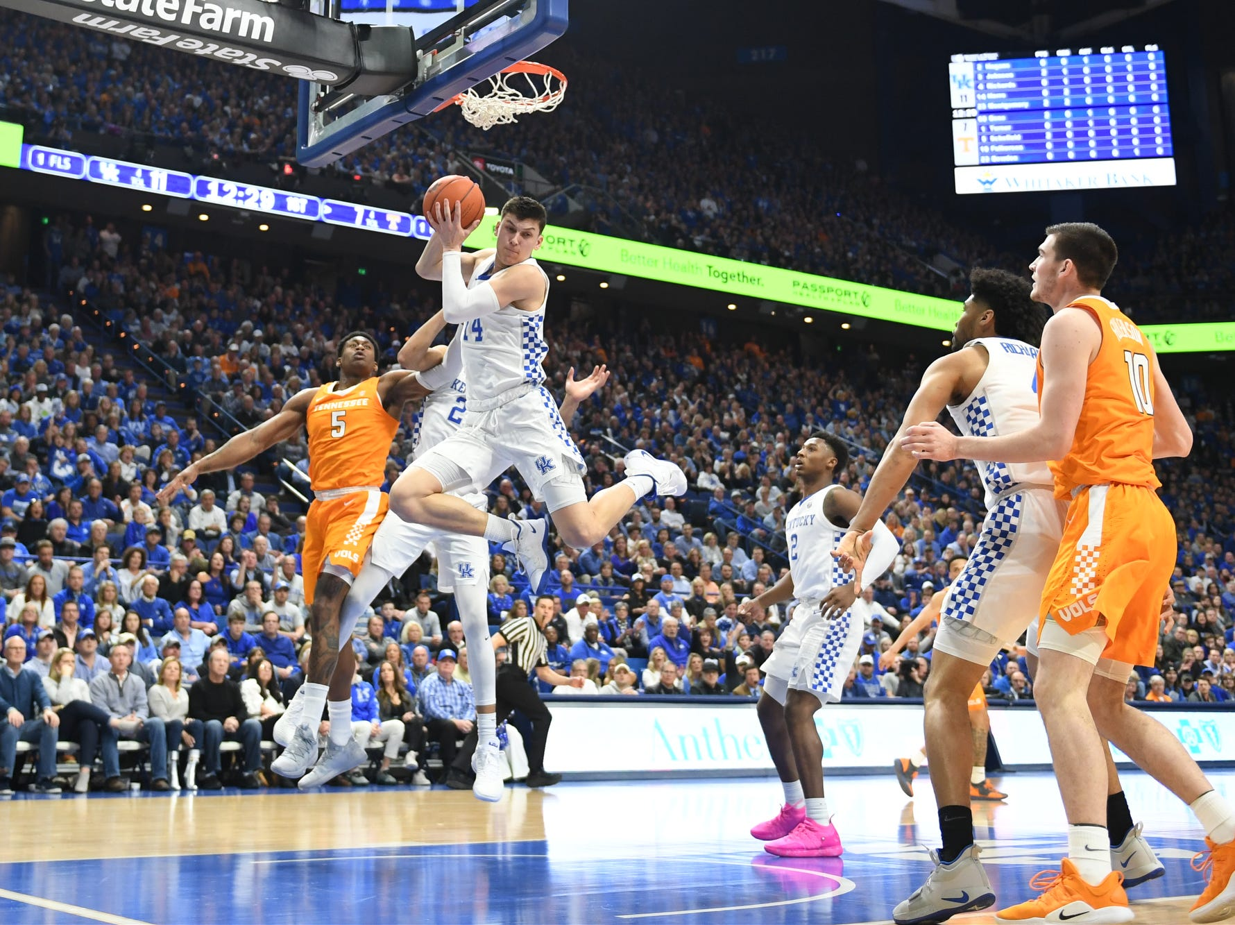 UK G Tyler Herro grabs a rebound during the University of Kentucky mens basketball game against Tennessee at Rupp Arena in Lexington, Kentucky on Saturday, February 16, 2019.