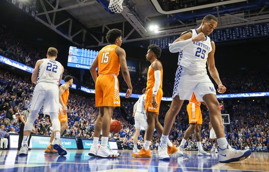 Kentucky's PJ Washington pumps his fist as the Wildcats beat No. 1 Tennessee 86-69 Saturday night. Washington had 23 points as he led the Wildcats in scoring. Feb. 16, 2019