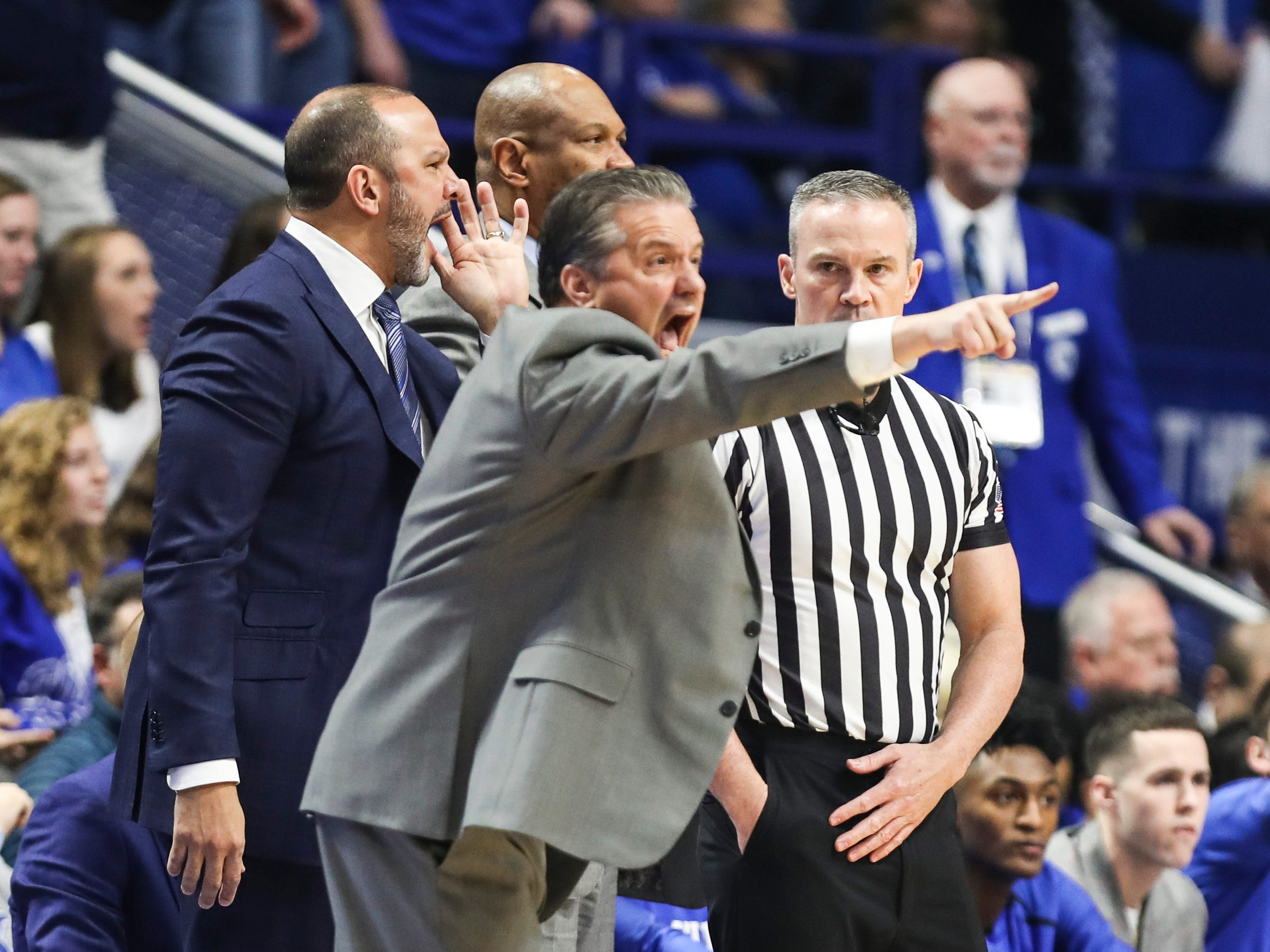 Kentucky's John Calipari screams during the first half in the game against Tennessee. Feb. 16, 2019