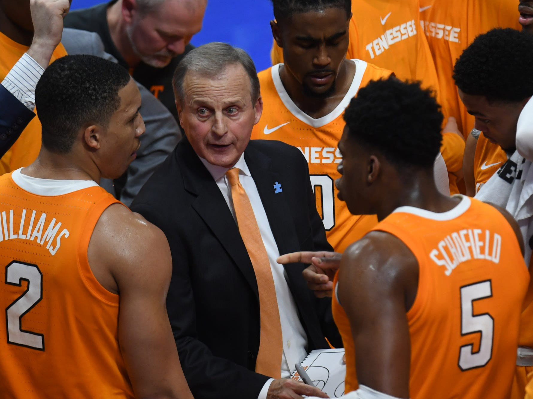 UT head coach Rick Barnes huddles with his team during the University of Kentucky mens basketball game against Tennessee at Rupp Arena in Lexington, Kentucky on Saturday, February 16, 2019.