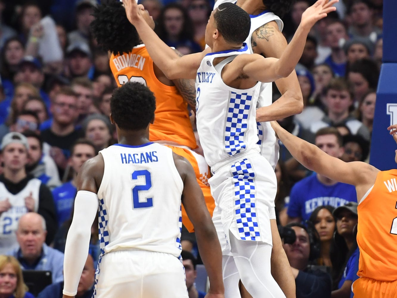 UK F Nick Richards blocks a shot during the University of Kentucky mens basketball game against Tennessee at Rupp Arena in Lexington, Kentucky on Saturday, February 16, 2019.