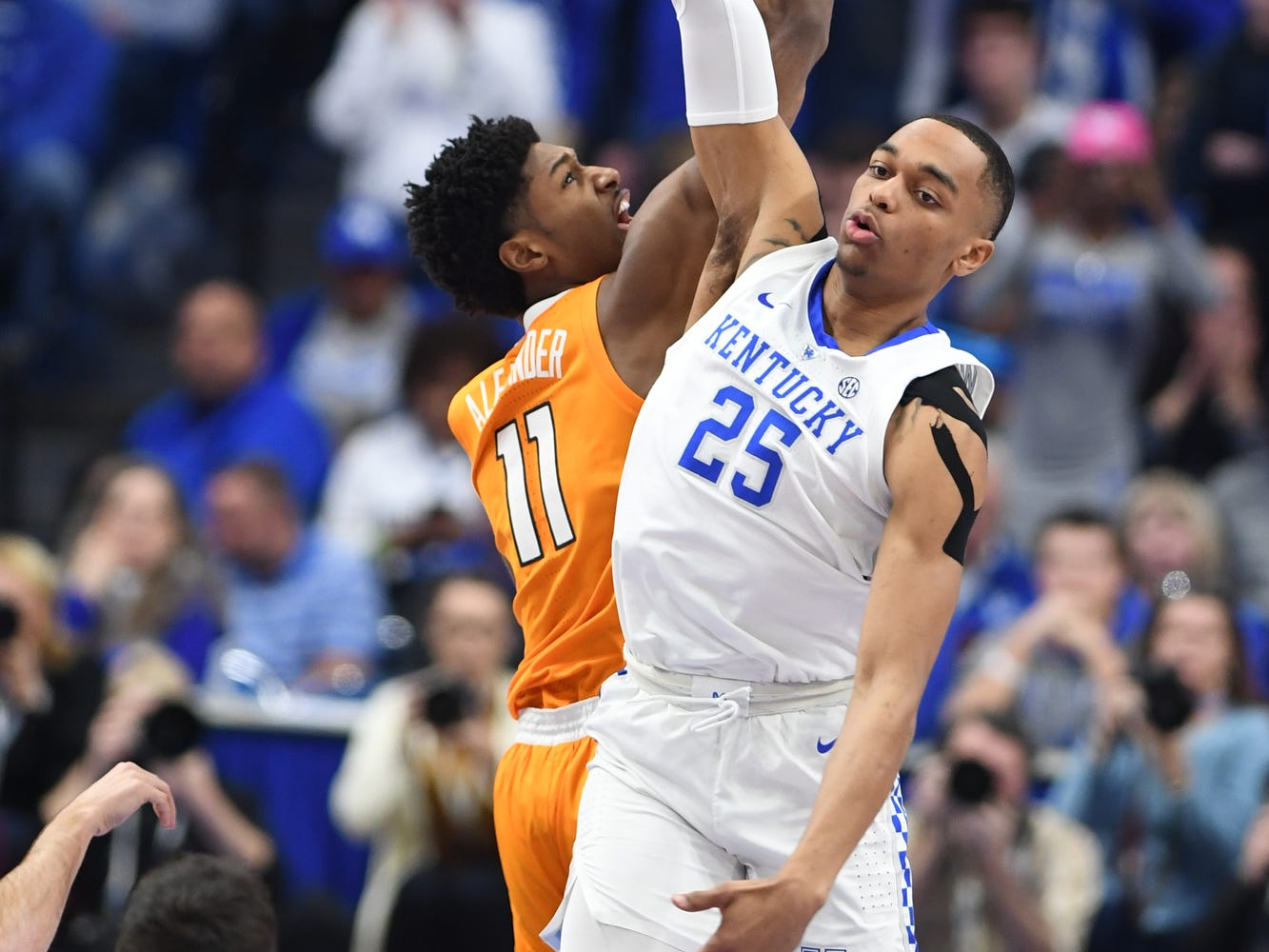 UK F PJ Washington wins the tip off during the University of Kentucky mens basketball game against Tennessee at Rupp Arena in Lexington, Kentucky on Saturday, February 16, 2019.