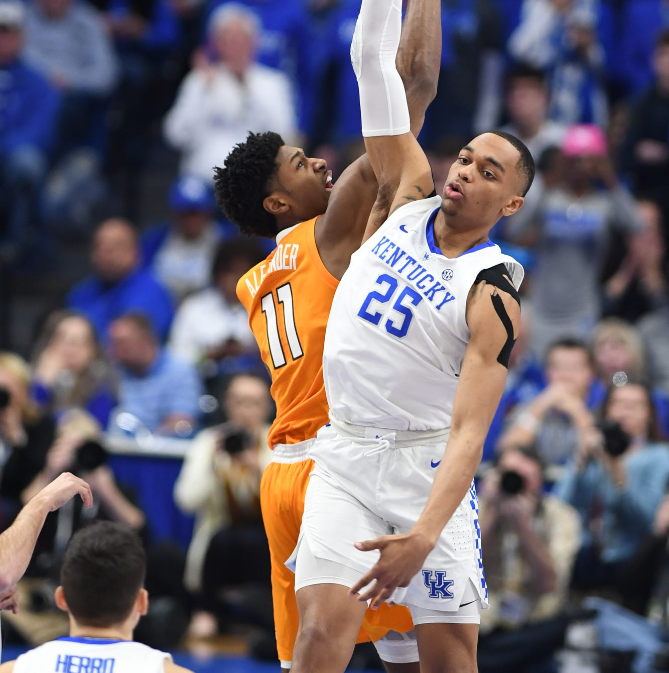 UK F PJ Washington wins the tip off during the...