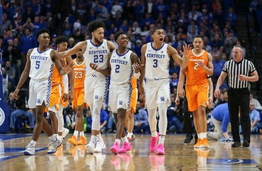 Kentucky's Immanuel Quickley, EJ Montgomery, Ashton Hagans and Keldon Johnson in the Wildcats' win over No. 1 Tennessee 86-69 Saturday night. Feb. 16, 2019