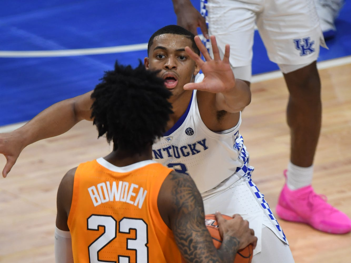 UK G Keldon Johnson defends the ball during the University of Kentucky mens basketball game against Tennessee at Rupp Arena in Lexington, Kentucky on Saturday, February 16, 2019.