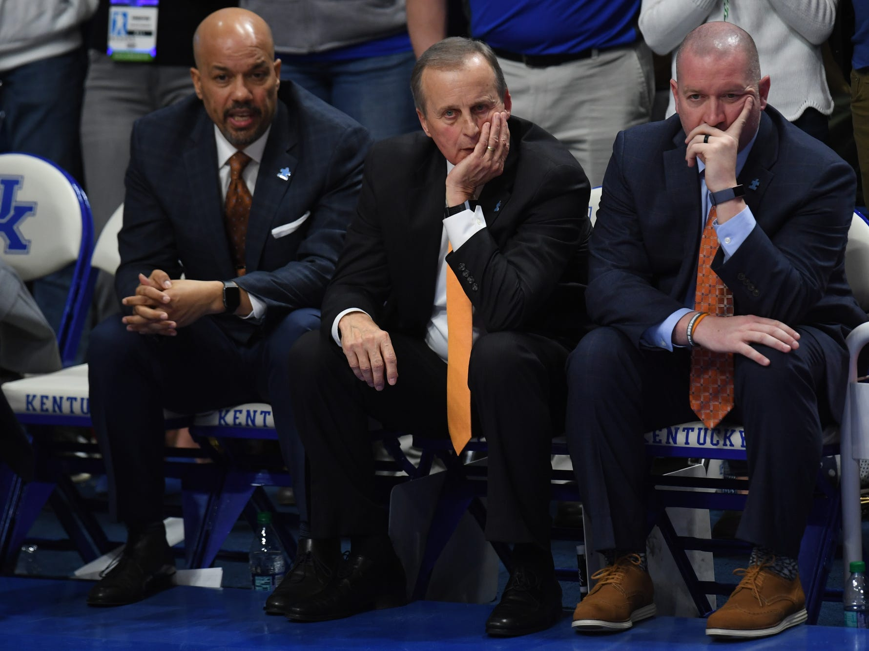 UT coaches during the University of Kentucky mens basketball game against Tennessee at Rupp Arena in Lexington, Kentucky on Saturday, February 16, 2019.