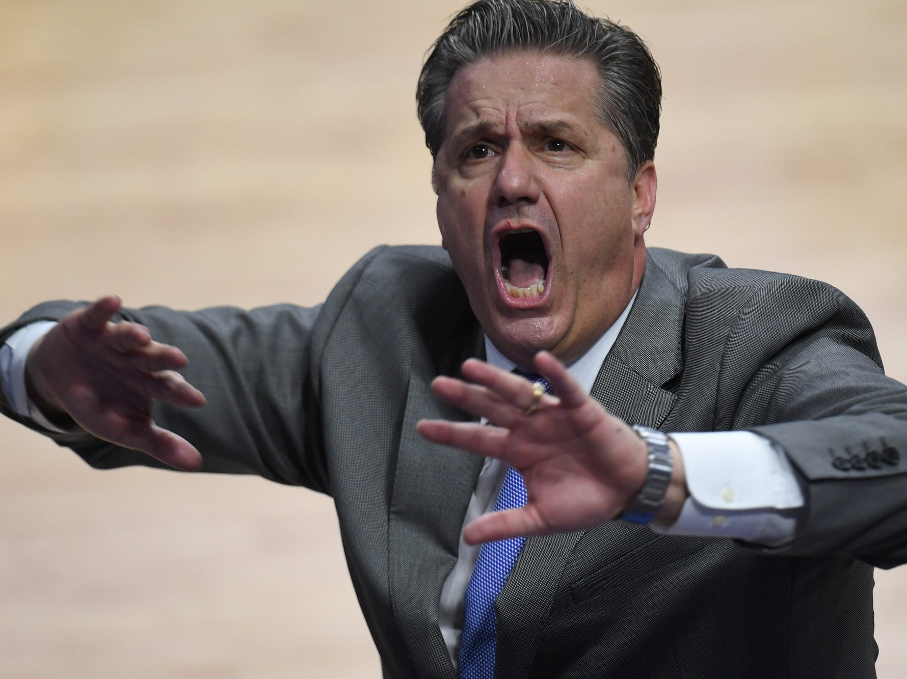 "UK head coach John Calipari tells the crowd to stop chanting ""over-rated"" during the University of Kentucky mens basketball game against Tennessee at Rupp Arena in Lexington, Kentucky on Saturday, February 16, 2019."
