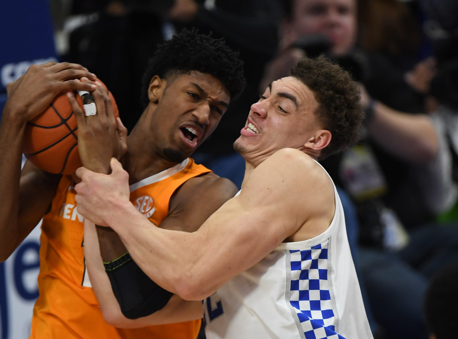 UK F Reid Travis secures a jump ball during the University of Kentucky mens basketball game against Tennessee at Rupp Arena in Lexington, Kentucky on Saturday, February 16, 2019.