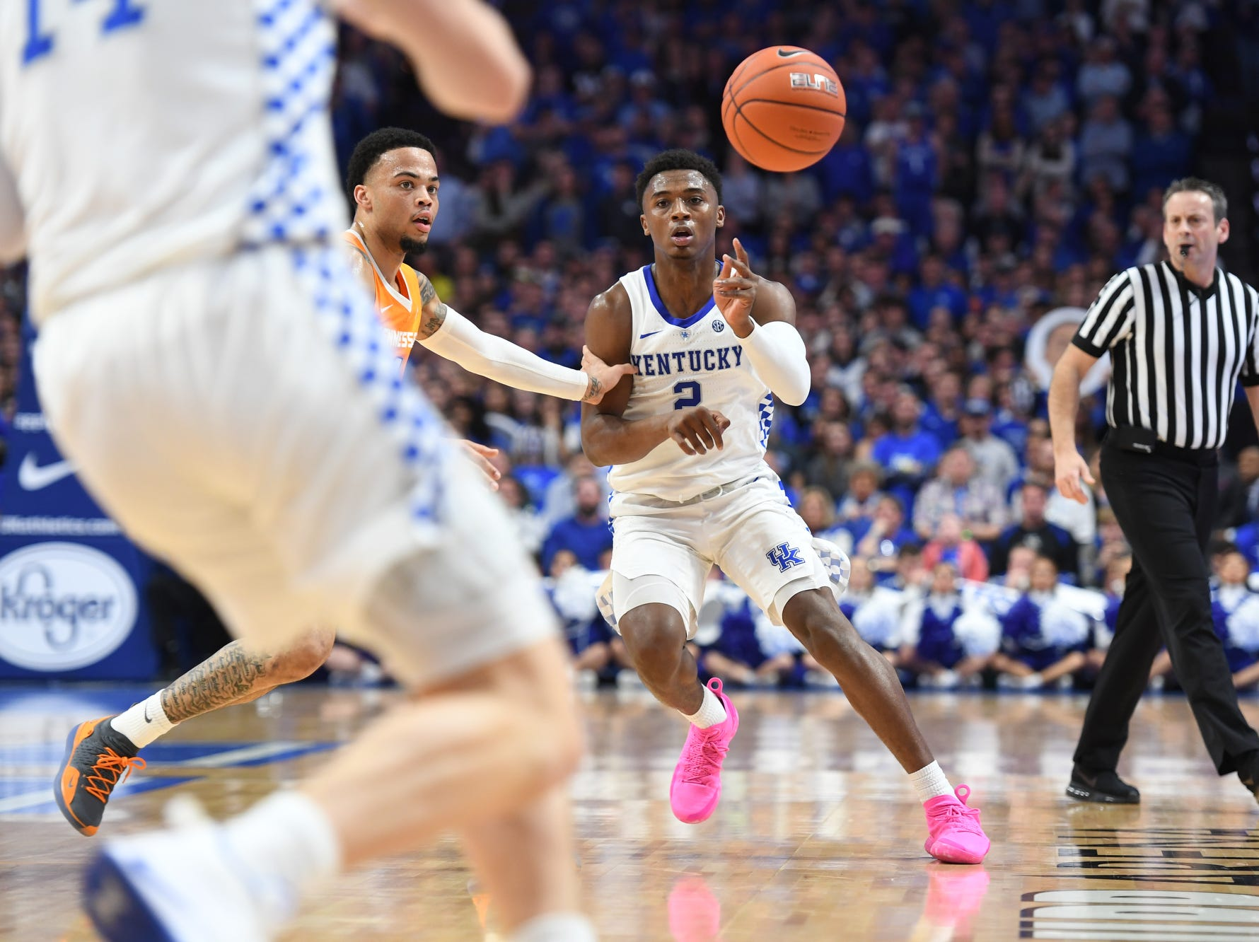 UK G Ashton Hagans passes the ball during the University of Kentucky mens basketball game against Tennessee at Rupp Arena in Lexington, Kentucky on Saturday, February 16, 2019.