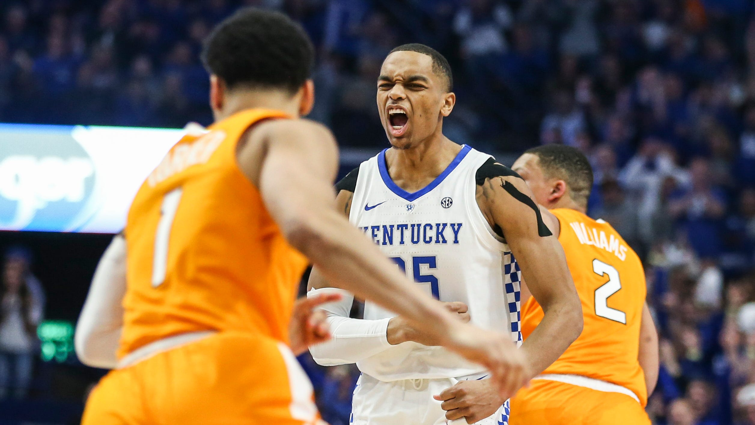 Kentucky's PJ Washington Jr celebrates after hitting a three during the first half in the game against Tennessee. Feb. 16, 2019