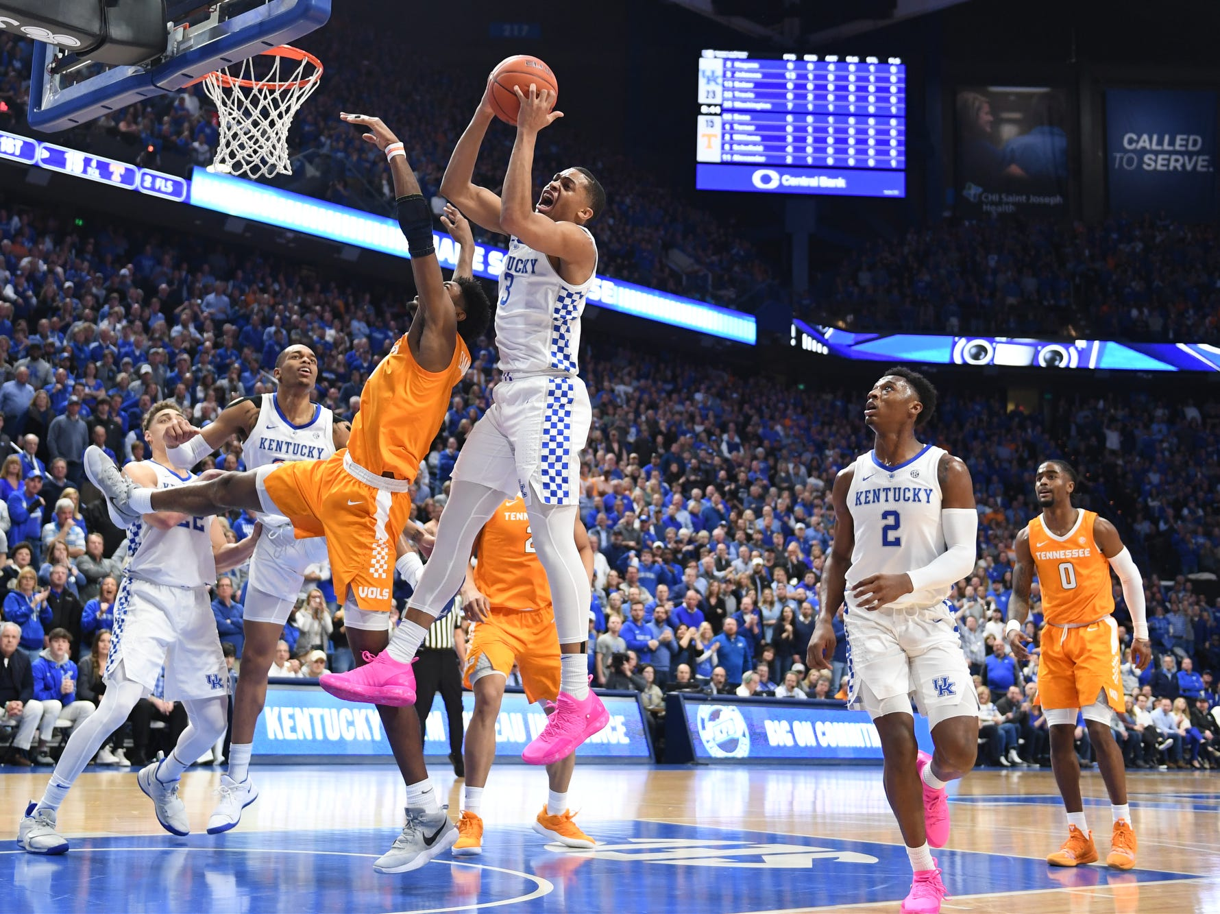 UK G Keldon Johnson grabs a rebound during the University of Kentucky mens basketball game against Tennessee at Rupp Arena in Lexington, Kentucky on Saturday, February 16, 2019.