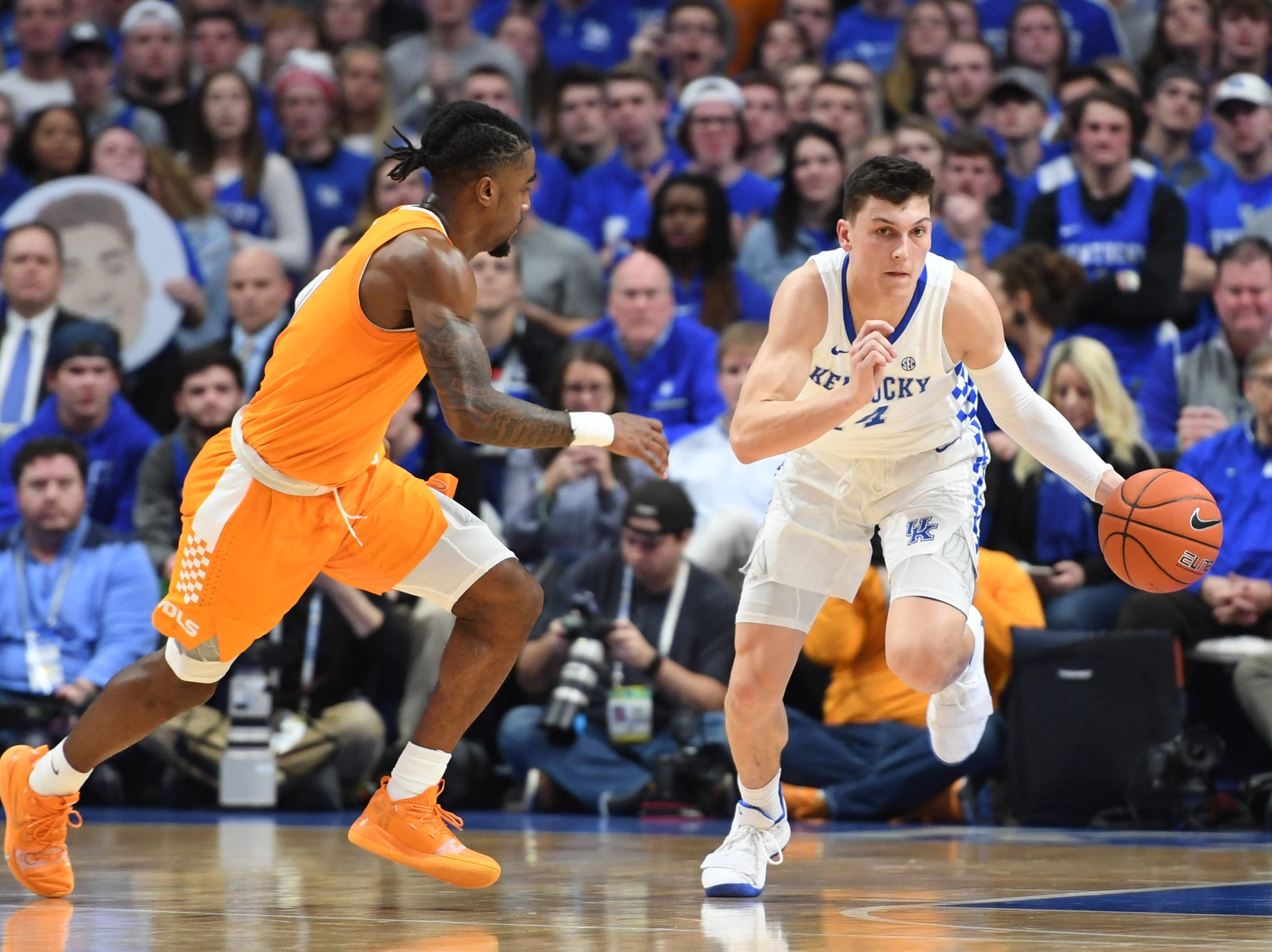 UK G Tyler Herro brings the ball up court during the University of Kentucky mens basketball game against Tennessee at Rupp Arena in Lexington, Kentucky on Saturday, February 16, 2019.