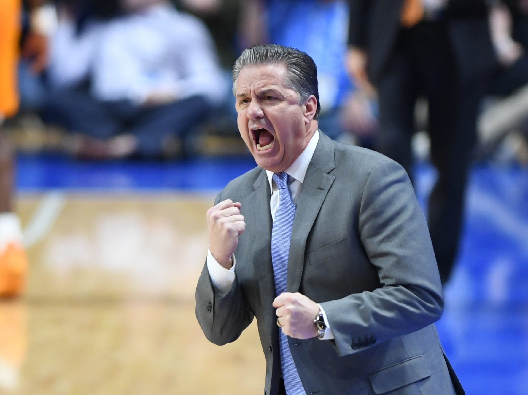 UK head coach John Calipari during the University of Kentucky mens basketball game against Tennessee at Rupp Arena in Lexington, Kentucky on Saturday, February 16, 2019.