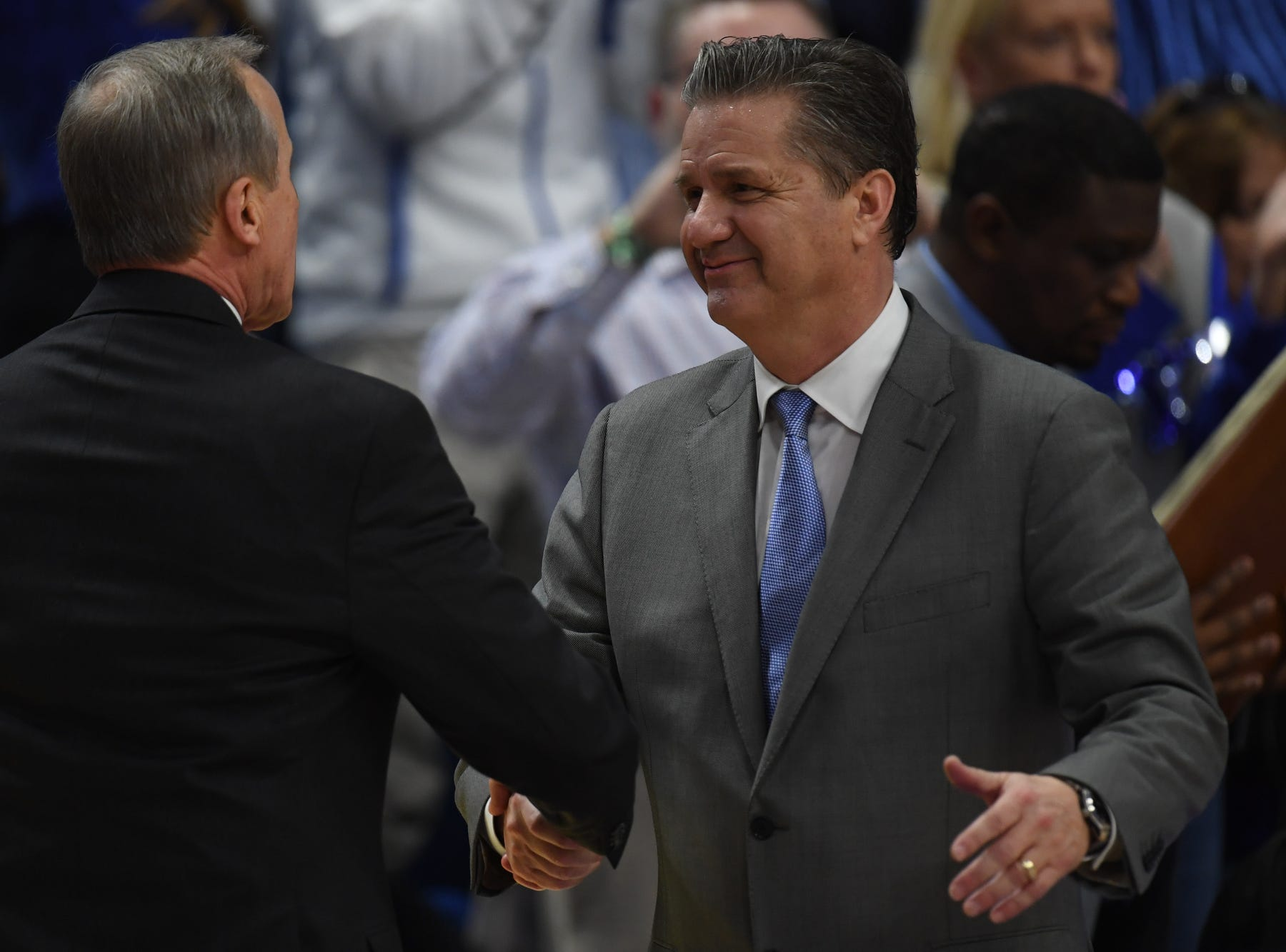 Tennessee head coach Rick Barnes and UK head coach John Calipari shake hands after the University of Kentucky mens basketball game against Tennessee at Rupp Arena in Lexington, Kentucky on Saturday, February 16, 2019.