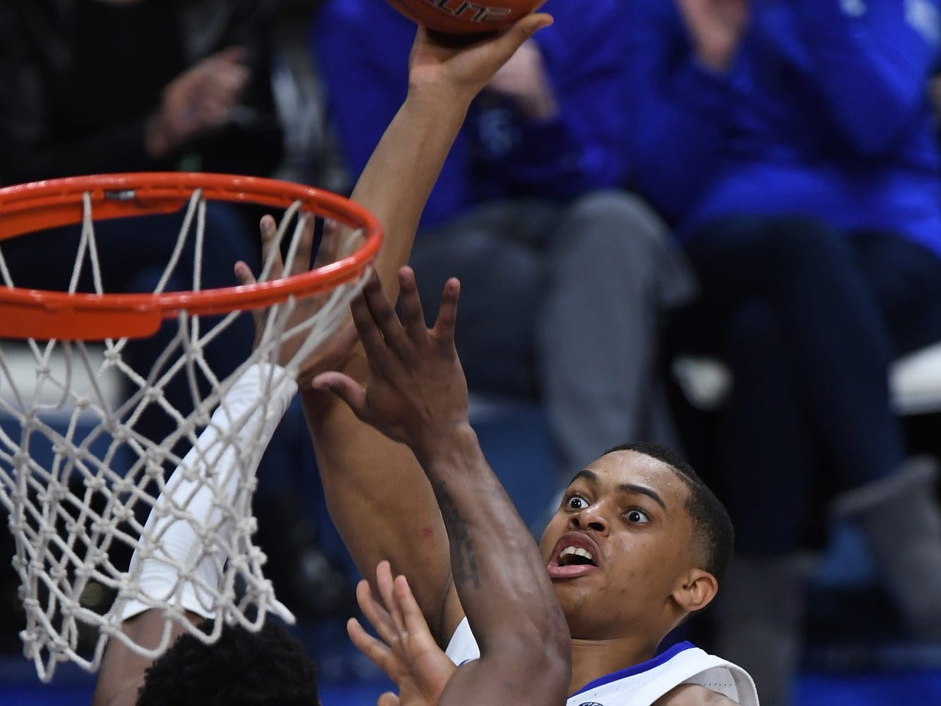 UK G Keldon Johnson puts up the ball during the University of Kentucky mens basketball game against Tennessee at Rupp Arena in Lexington, Kentucky on Saturday, February 16, 2019.