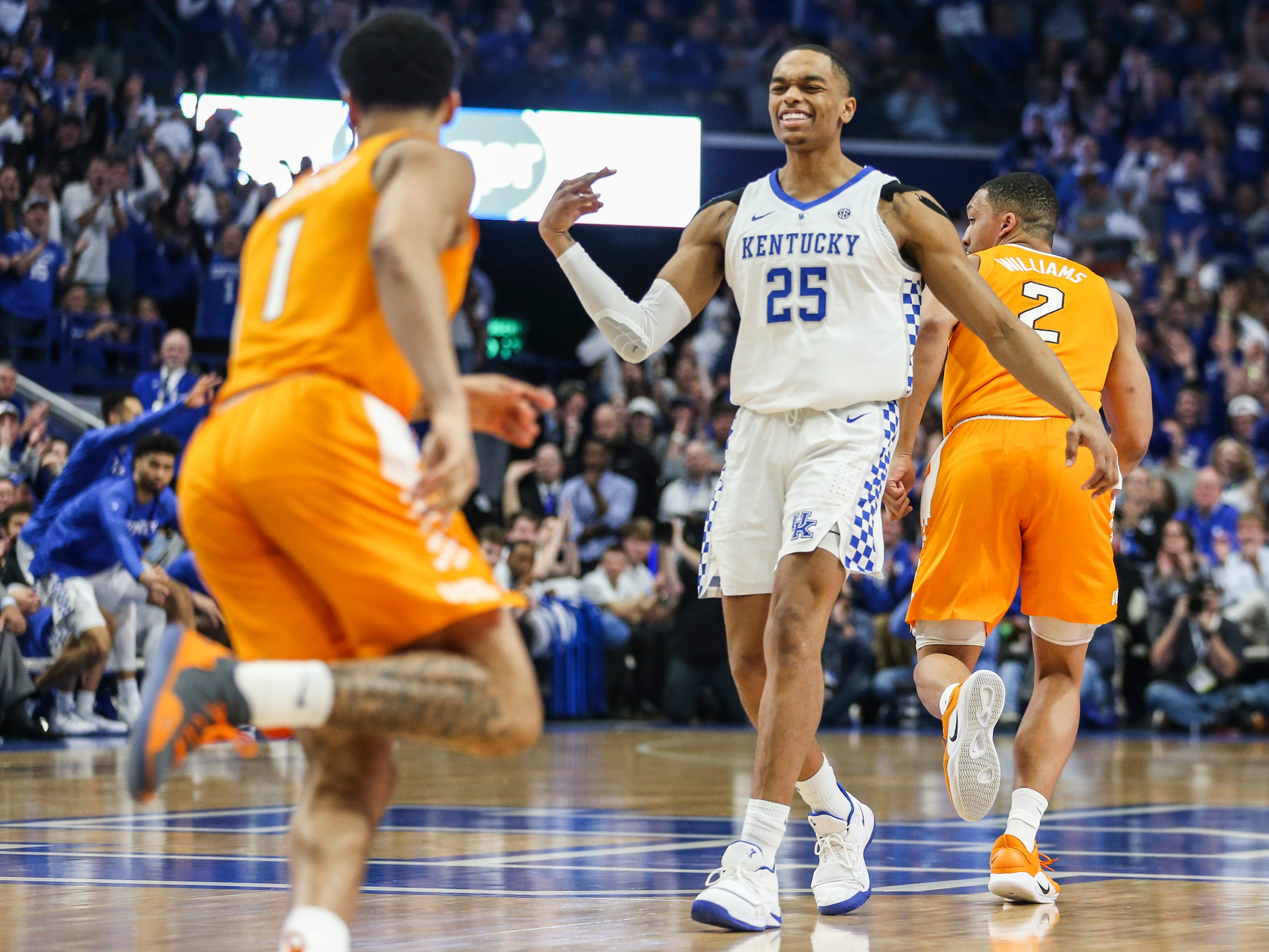 Kentucky's PJ Washington Jr celebrates after hitting a three in the first half against Tennessee. Feb. 16, 2019