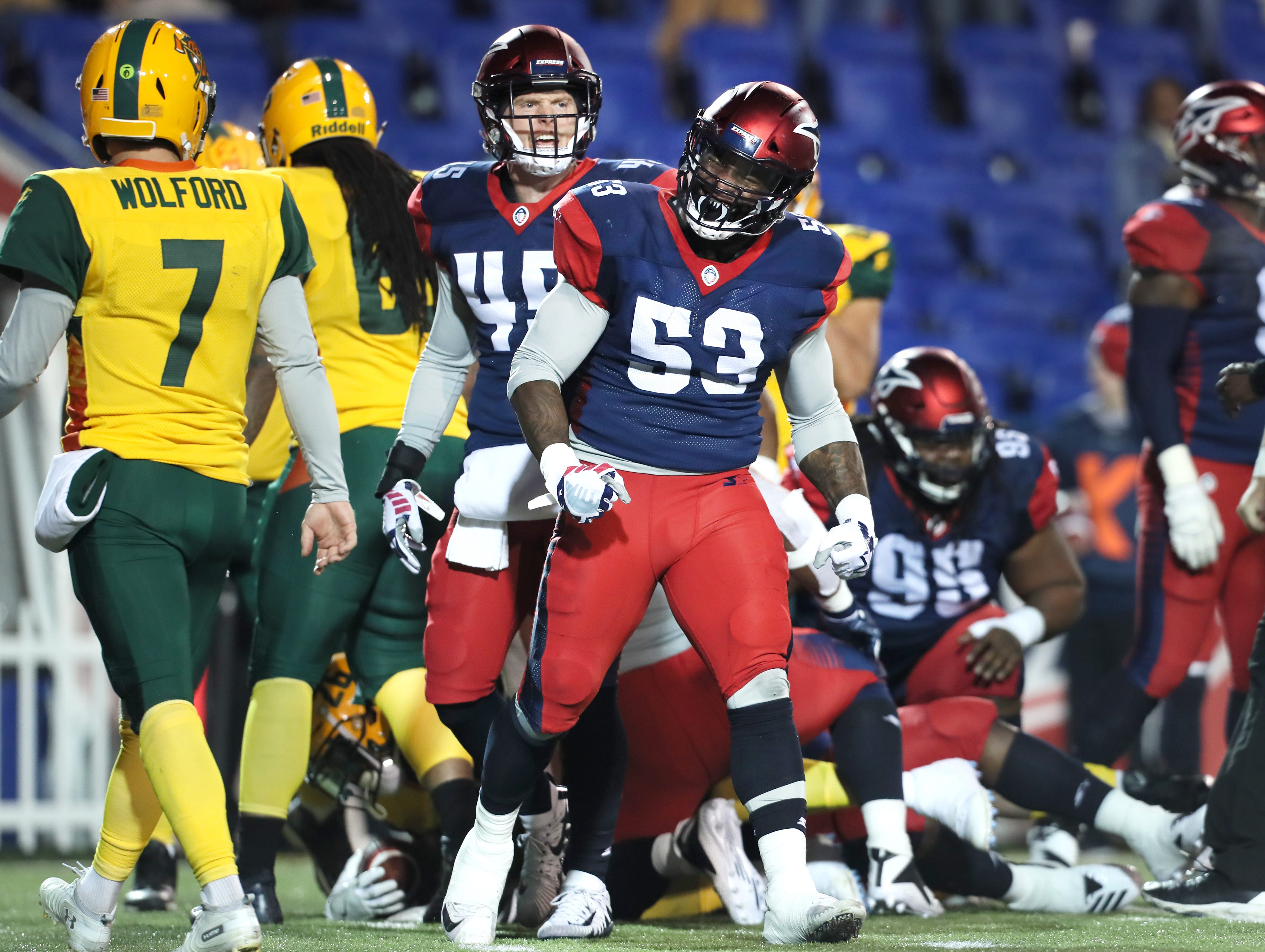 Memphis Express linebacker Drew Jackson celebrates a tackle against the Arizona Hotshots during their game at the Liberty Bowl on Saturday, Feb. 16, 2019.
