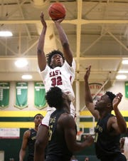 East's James Wiseman shoots the ball against Whitehaven at Memphis Central High School Friday, Feb. 15, 2019.