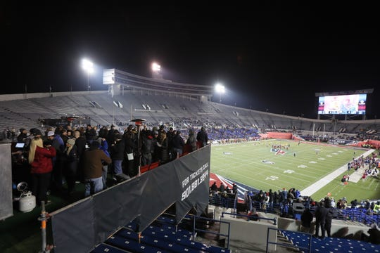 Fans watch as the Memphis Express take on the Arizona Hotshots at the Liberty Bowl on Saturday, Feb. 16, 2019.