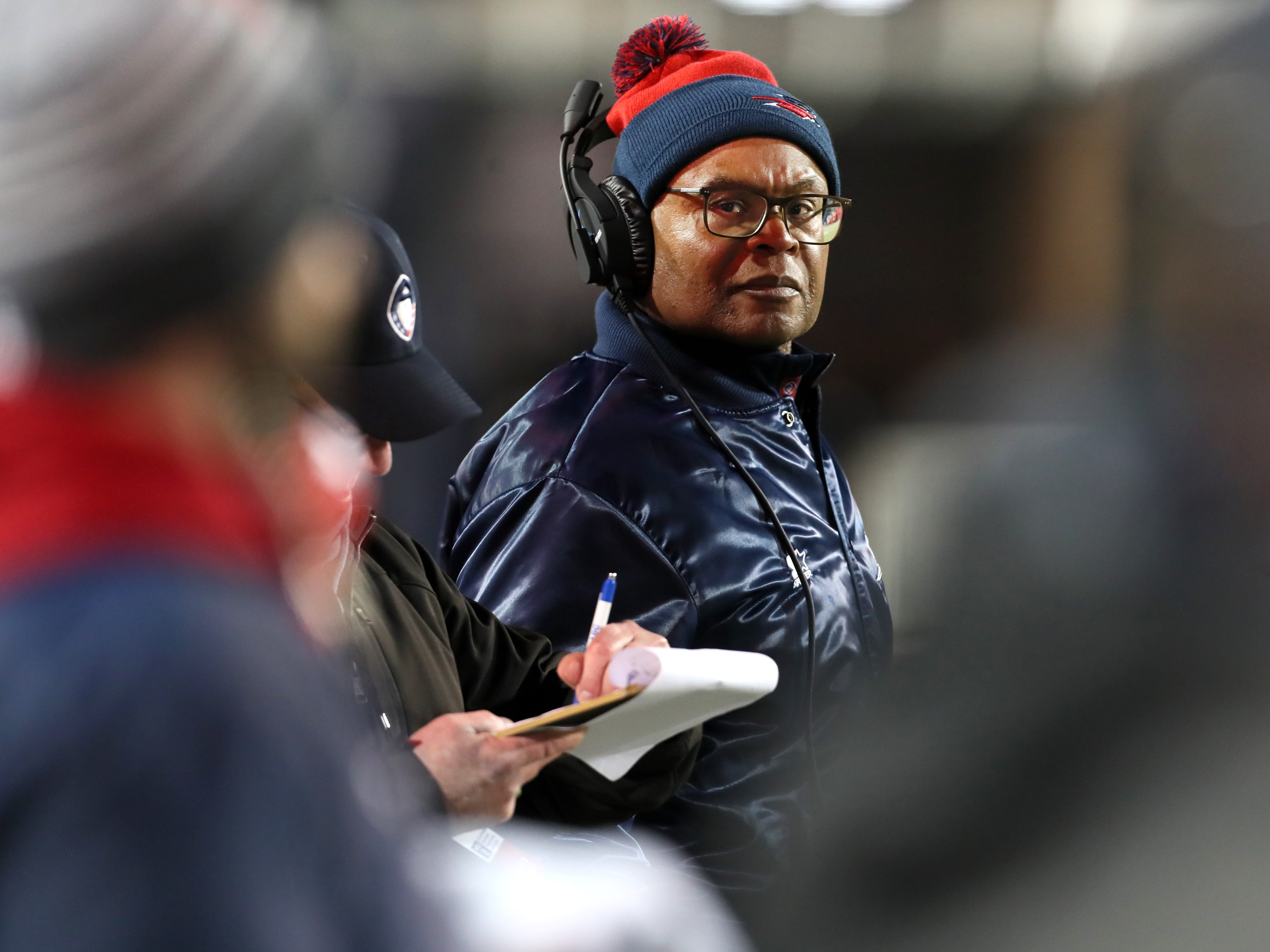 Memphis Express Head Coach Mike SIngletary watches from the sidelines as his team takes on the Arizona Hotshots at the Liberty Bowl on Saturday, Feb. 16, 2019.