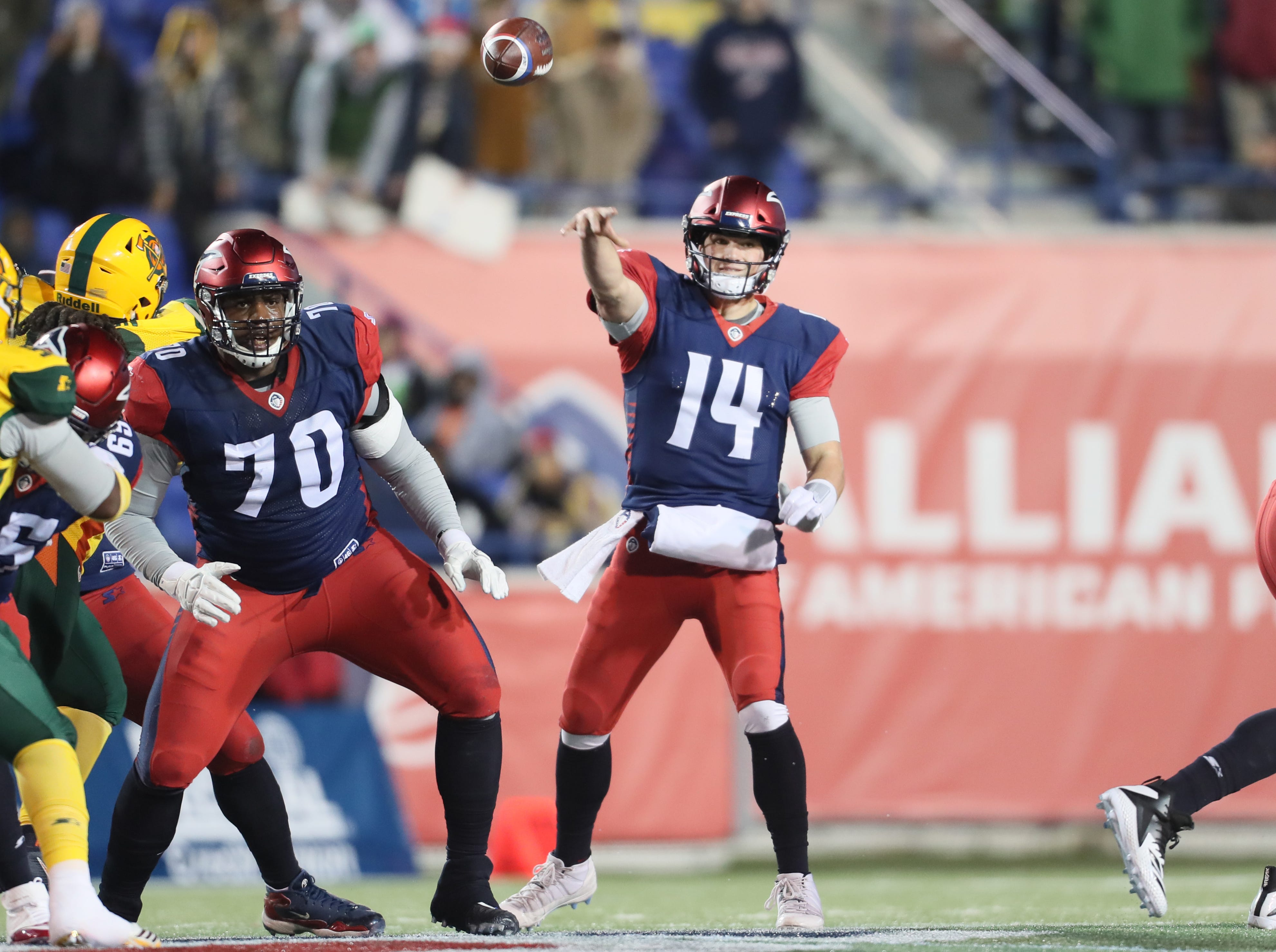 Memphis Express quarterback Christian Hackenberg throws the ball against the Arizona Hotshots during their game at the Liberty Bowl on Saturday, Feb. 16, 2019.