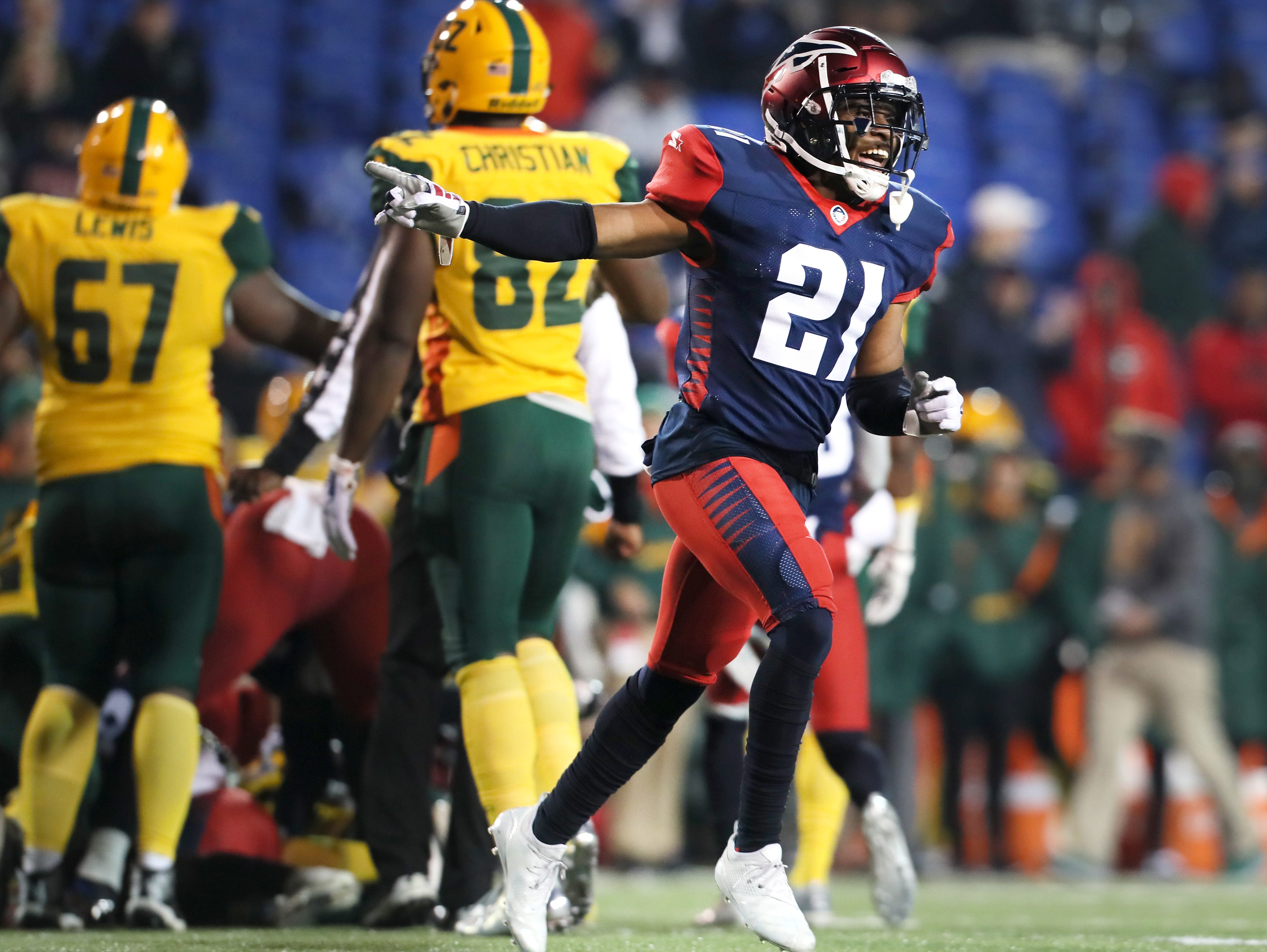 Memphis Express cornerback Terrell Bonds celebrates a takeaway from the Arizona Hotshots during their game at the Liberty Bowl on Saturday, Feb. 16, 2019.