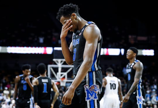 Memphis guard Jeremiah Martin walks off the court during the seconds of a 79-72 loss to UCF in Orlando Saturday, February 16, 2019.