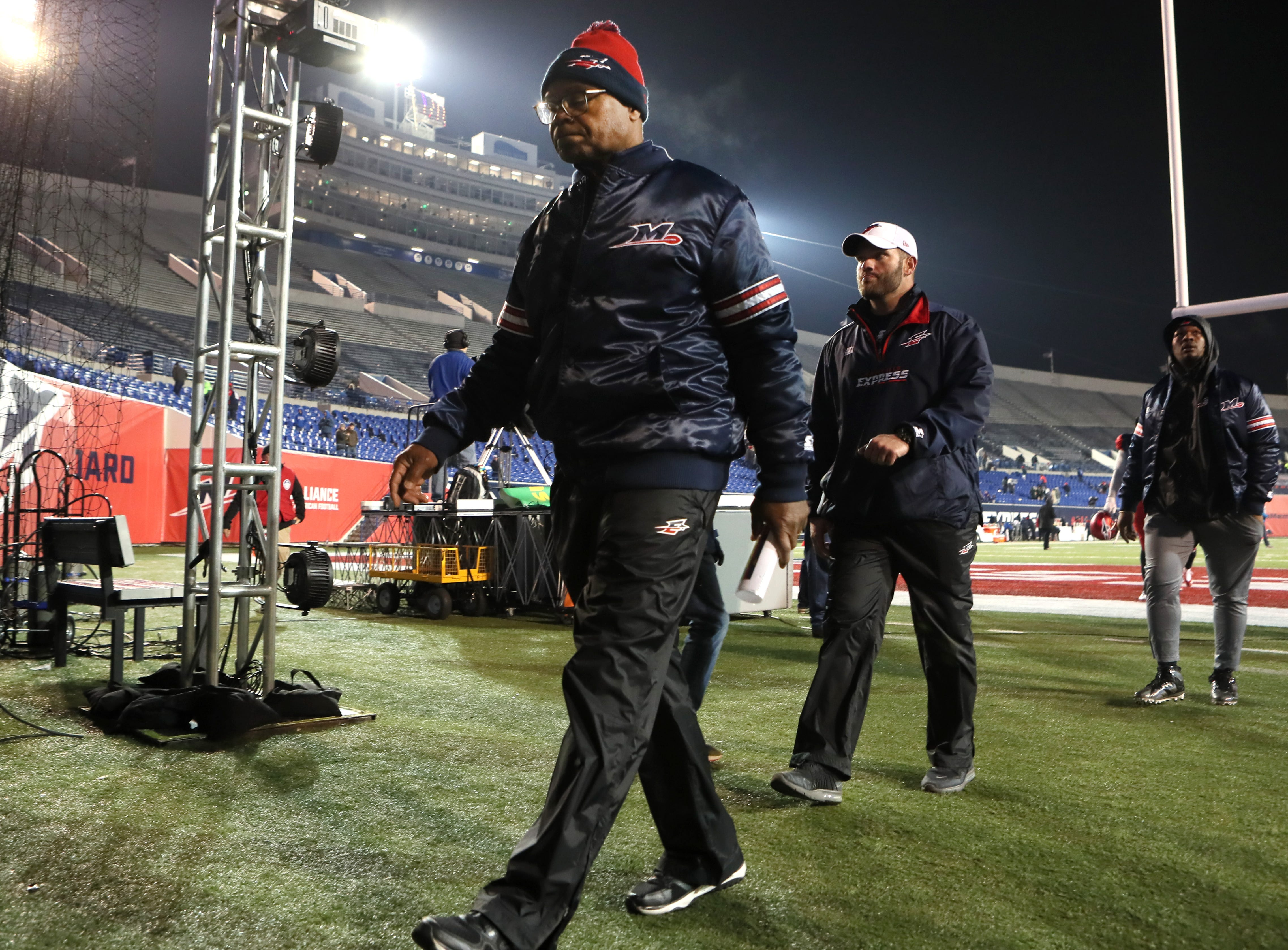 Memphis Express Head Coach Mike Singletary walks off the field after their 20-18 loss to the Arizona Hotshots at the Liberty Bowl on Saturday, Feb. 16, 2019.