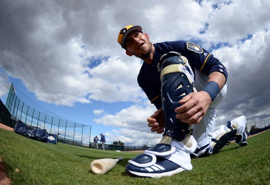 Catcher Yasmani Grandal was a big free-agent pickup for the Brewers in the off-season.