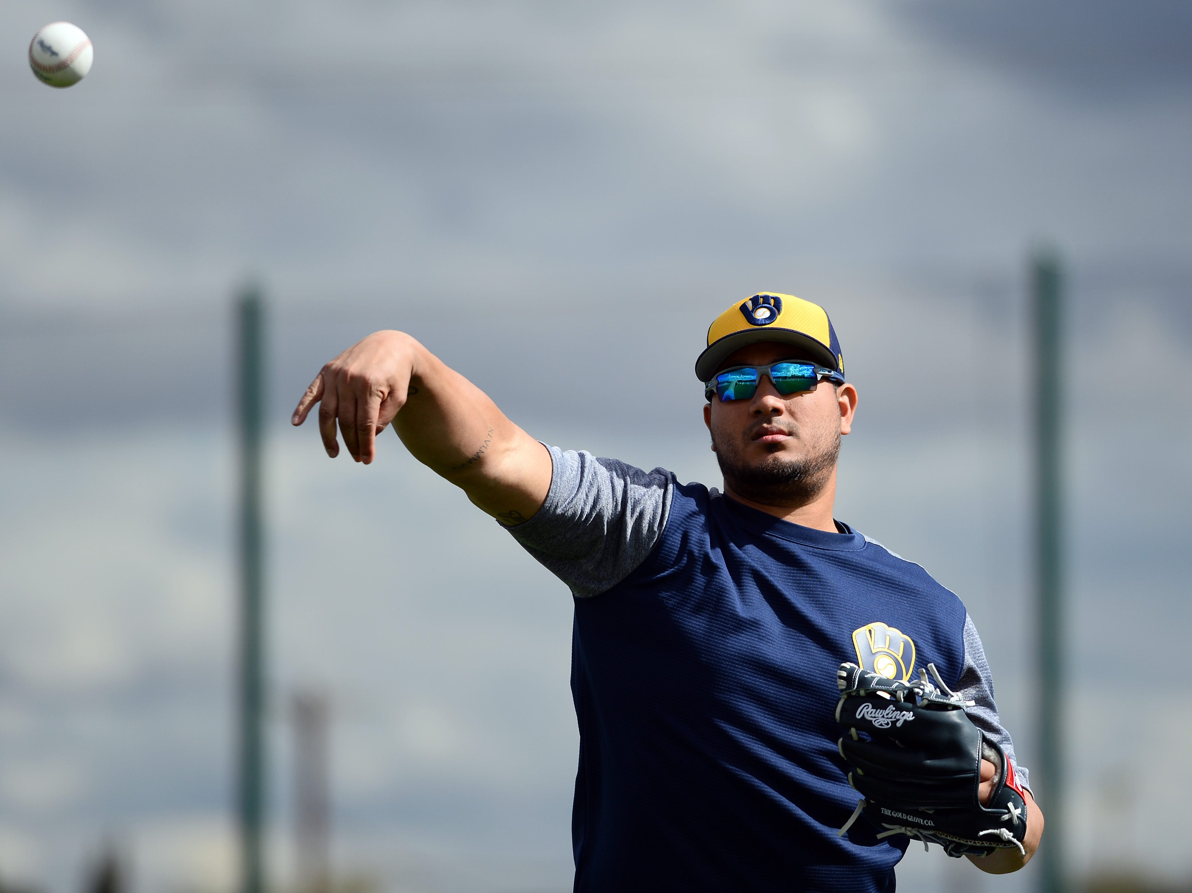 Starting pitcher Jhoulys Chacin takes part in drills on Saturday.