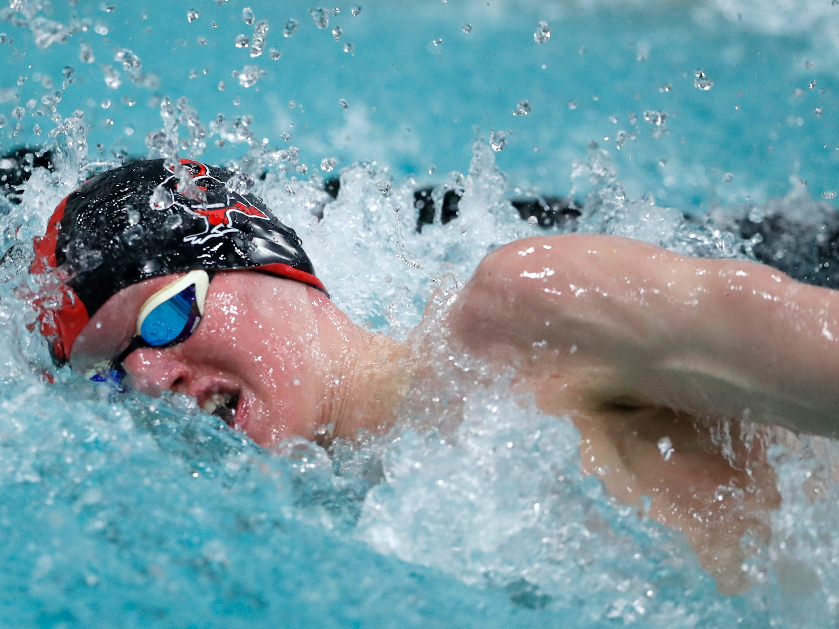 Waukesha South/Catholic Memorial's Caleb Blischke takes third in the 500-yard freestyle at the WIAA Division 1 state meet Saturday.