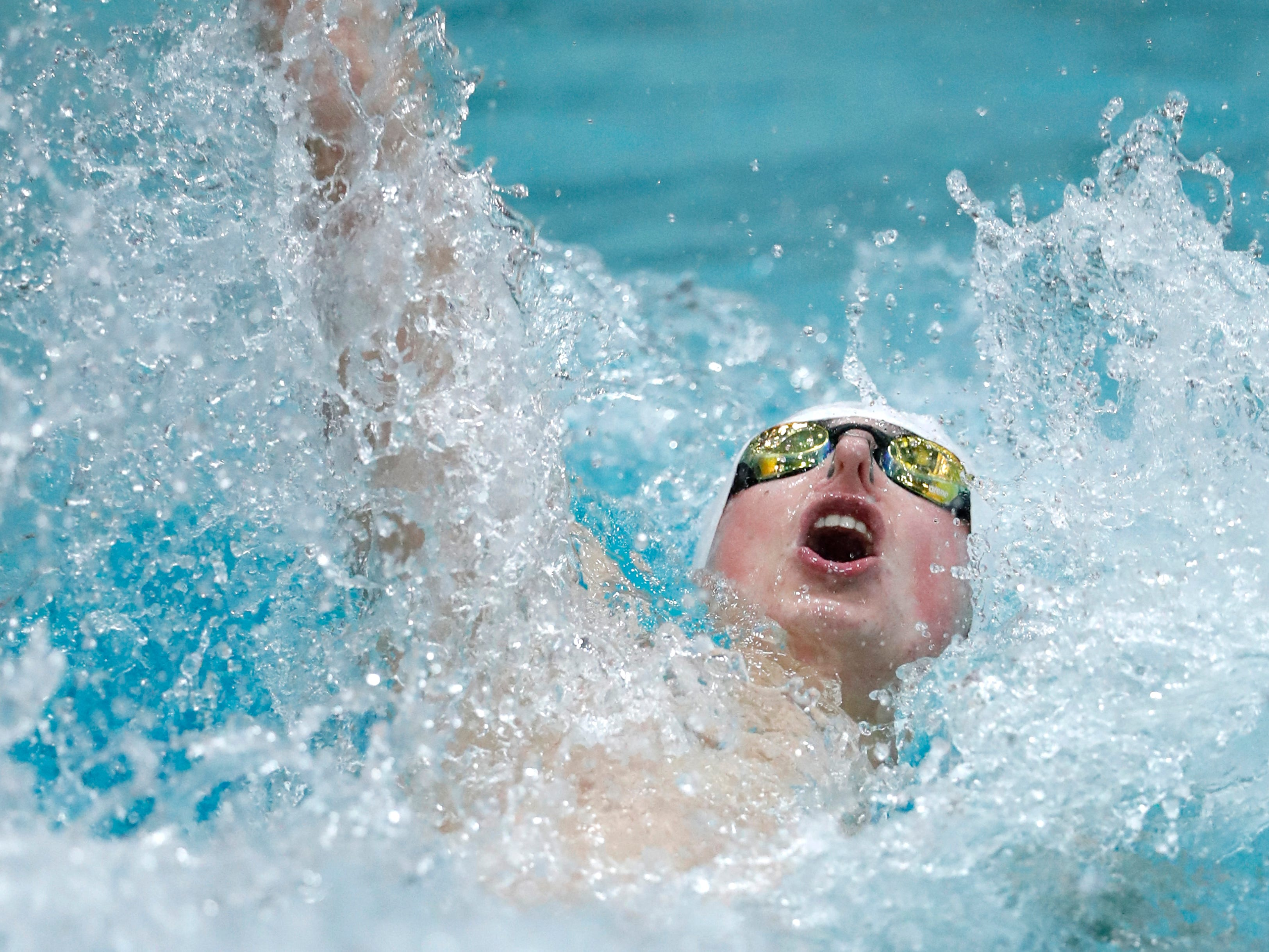 Arrowhead's Andrew Nixdorf betters the state mark of 48.84 seconds in the 100 backstroke with a time of 48.71 at the WIAA Division 1 state meet Saturday. Unfortunately for Nixdorf, though, two others swimmers beat the record, too, as Madison West's Wes Jekel won in 48.09 and Hudson's Shane Blinkman took second in 48.48.