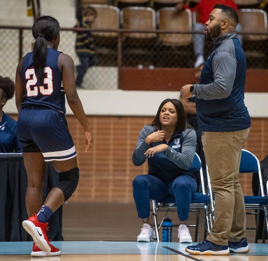 Pike Road coach Courtney Ward coaches from the bench against Straughn during AHSAA regional action Garrett Coliseum in Montgomery, Ala., on Saturday February 16, 2019.