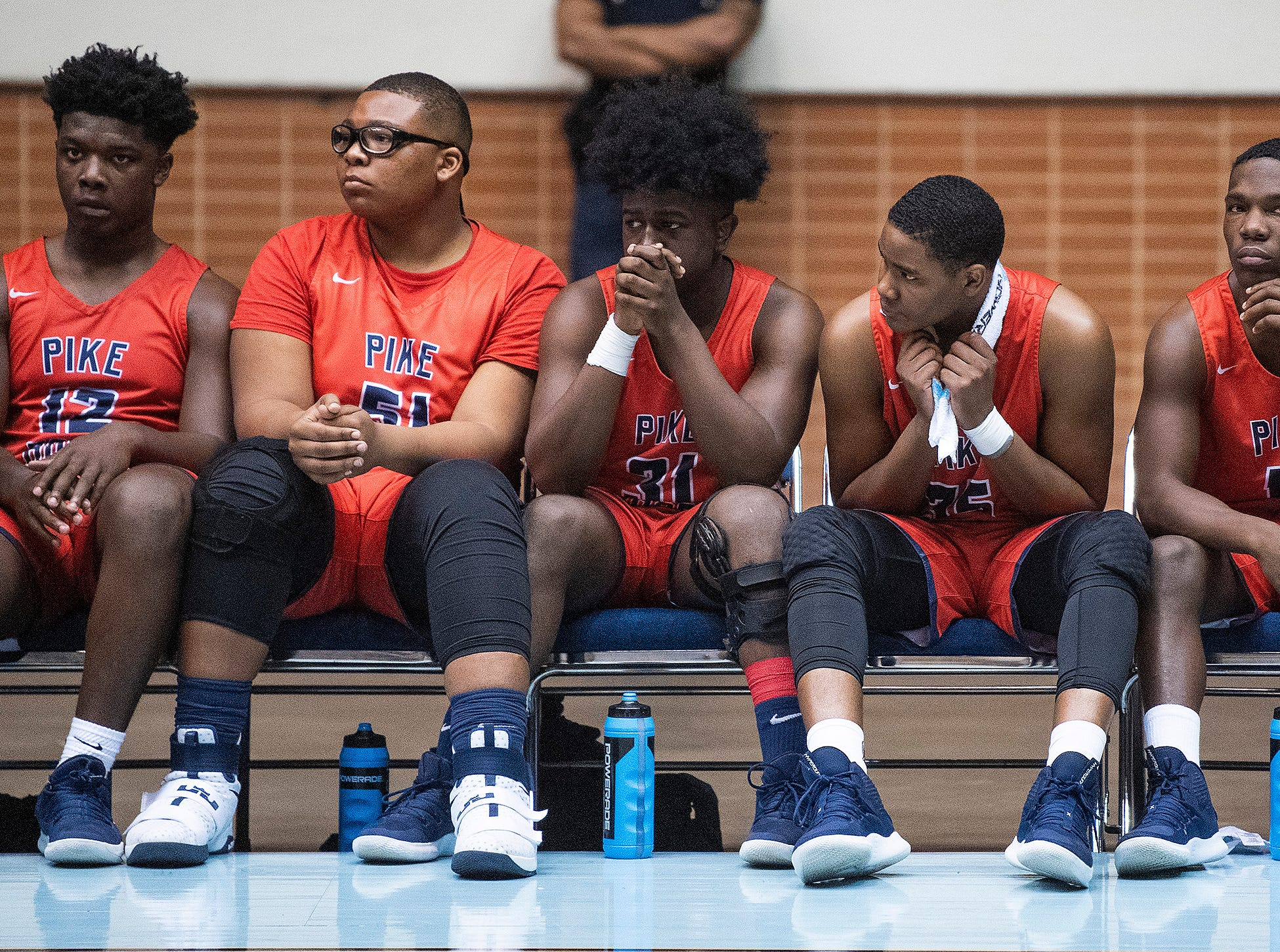 The Pike Road bench watches as time runs out in their loss to Slocomb during AHSAA regional action Garrett Coliseum in Montgomery, Ala., on Saturday February 16, 2019.