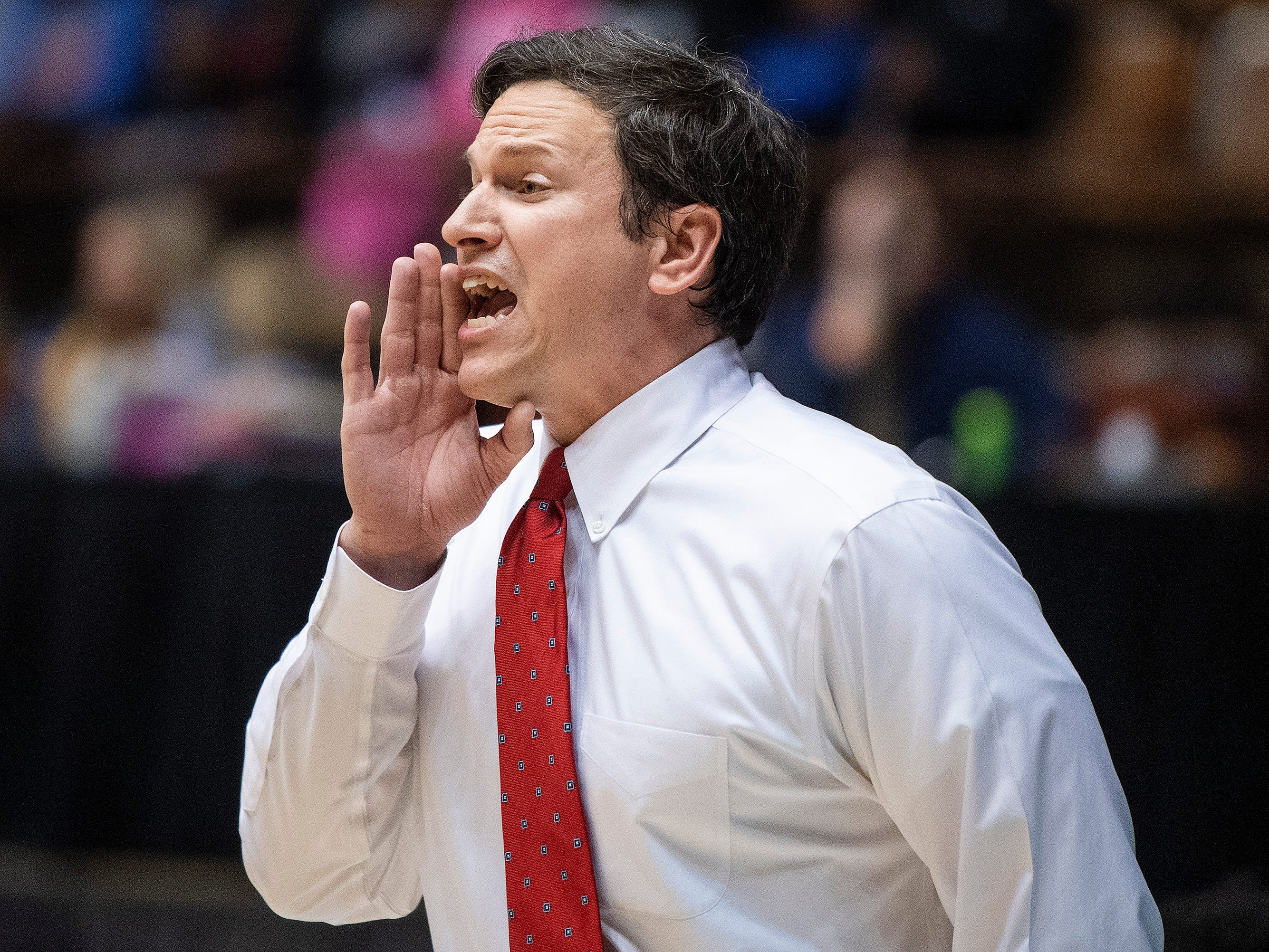 Pike Road coach Robb McGaughey coaches against Slocomb during AHSAA regional action Garrett Coliseum in Montgomery, Ala., on Saturday February 16, 2019.